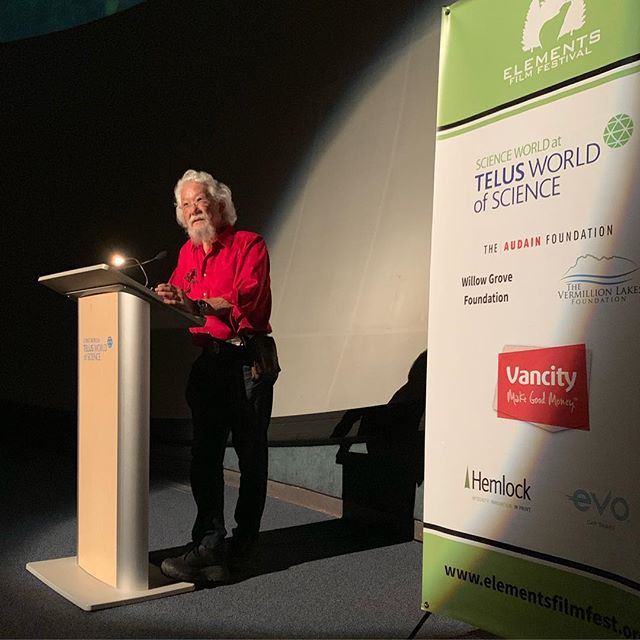 Dr. David Suzuki is here, introducing the film Force of Nature: a retrospective film that weaves together scenes from the places and events that shaped Dr. David Suzuki's career, with his enduring message of environmental stewardship. @davidsuzukifdn • • • • • #filmfestival #elements #staycurious #filmfest #environment #nature #conservation #sustainability #documentary #livegreen #lighterliving #davidsuzuki #forceofnature #retrospective #science