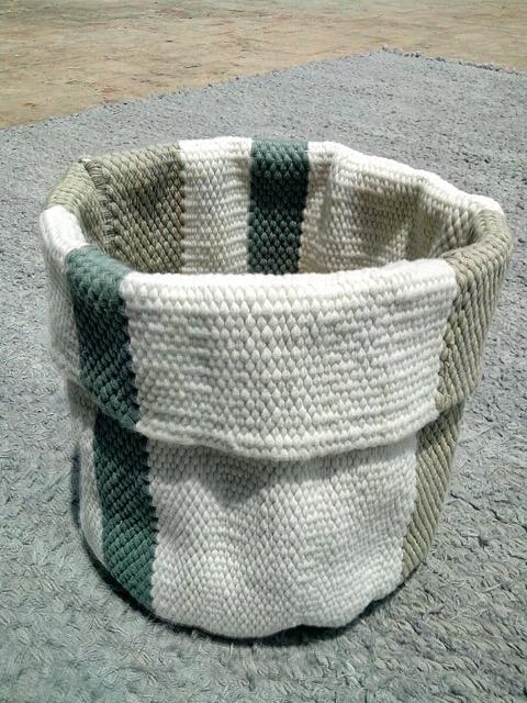 Striped Blue/Beige Bokhari Basket. Photo, Runa Klock.