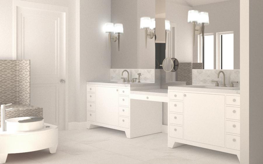 Master Bathroom Render (design courtesy of Staprans Design)