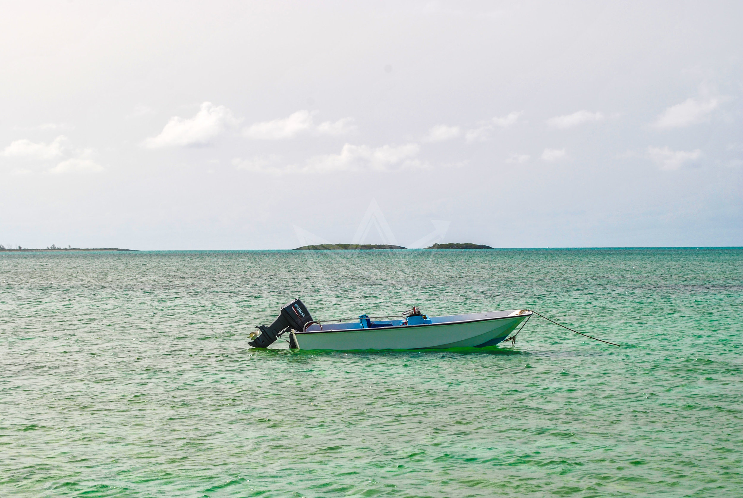 Boat Anchored off Shore in Major's Cay