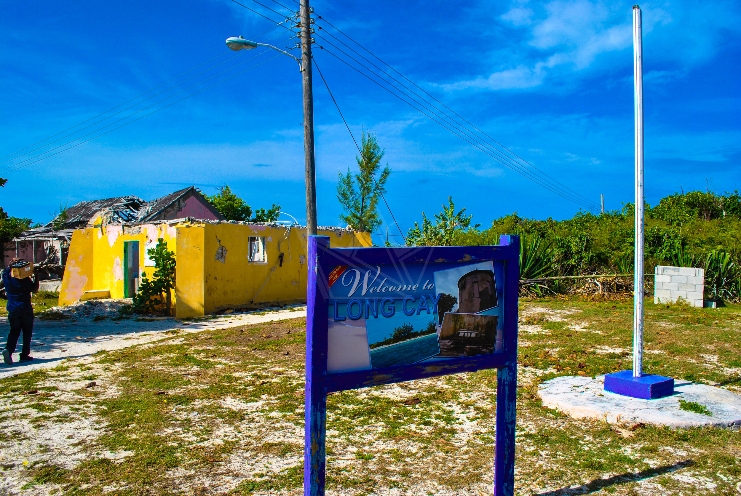 Welcome sign just off of the dock in Albert Town, Long Cay