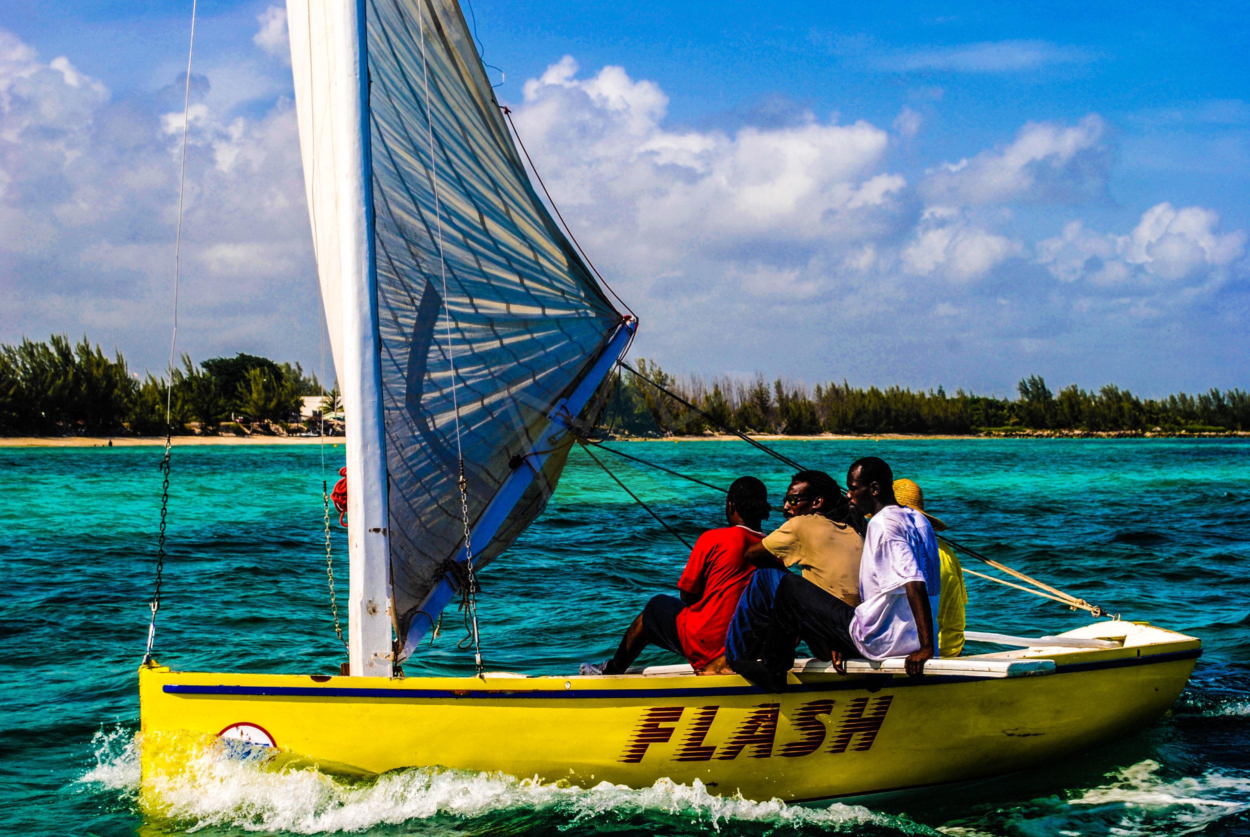 Bahamian sloop off Taino Beach, Freeport, Grand Bahama