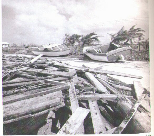 Boats washed ashore on the island of Abaco after Hurricane Betsy. Photo courtesy of The Tribune.
