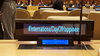 Attending the  United Nations' General Assembly  on Happiness