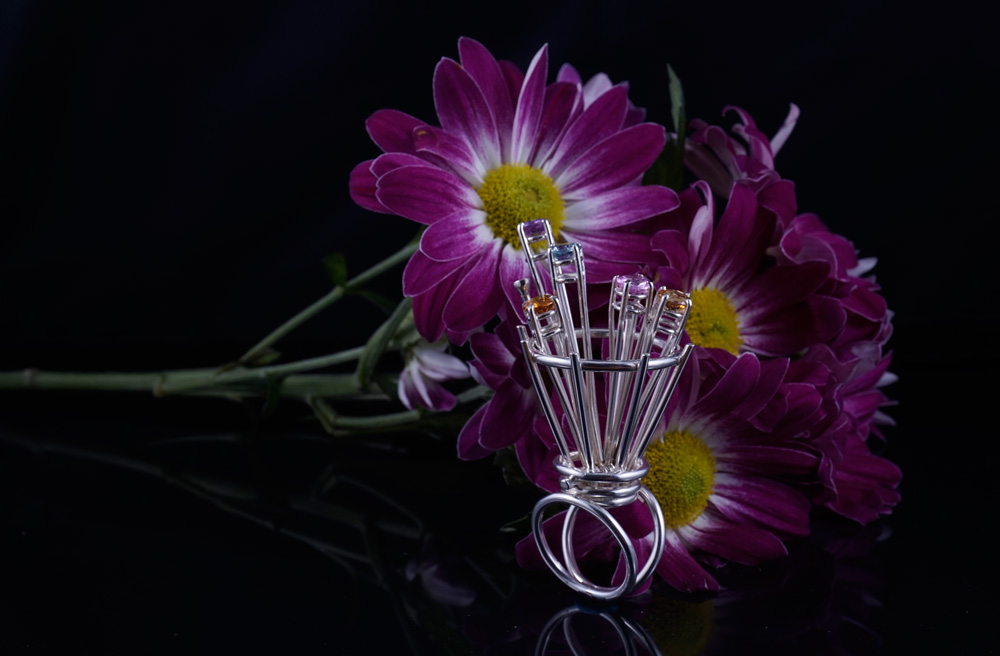 Articulating Flower Basket Ring