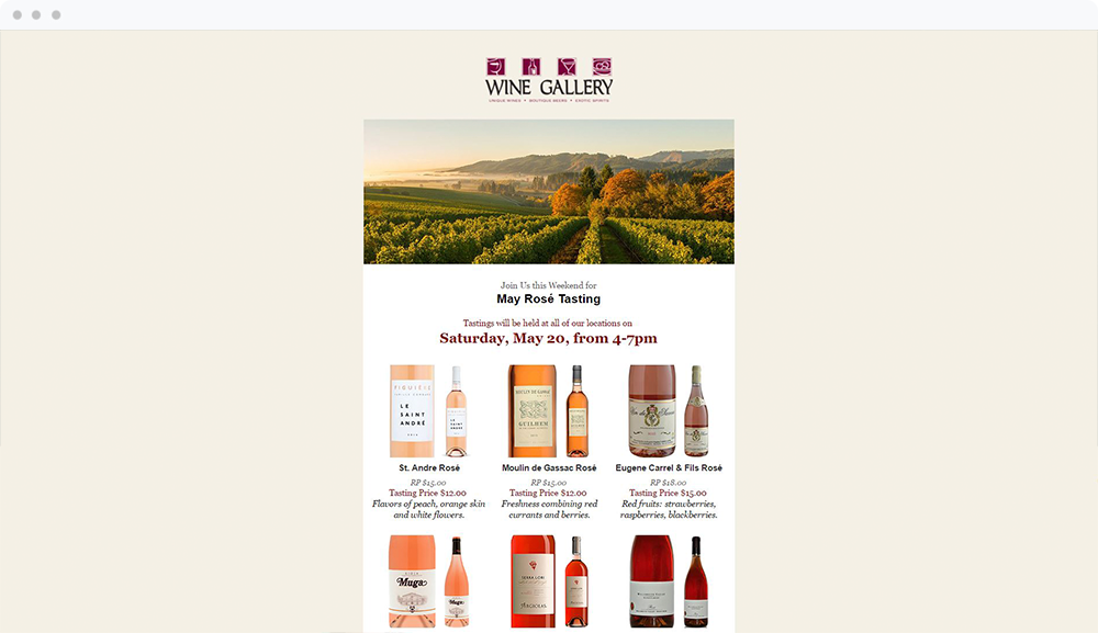 Wine Gallery -  View Email