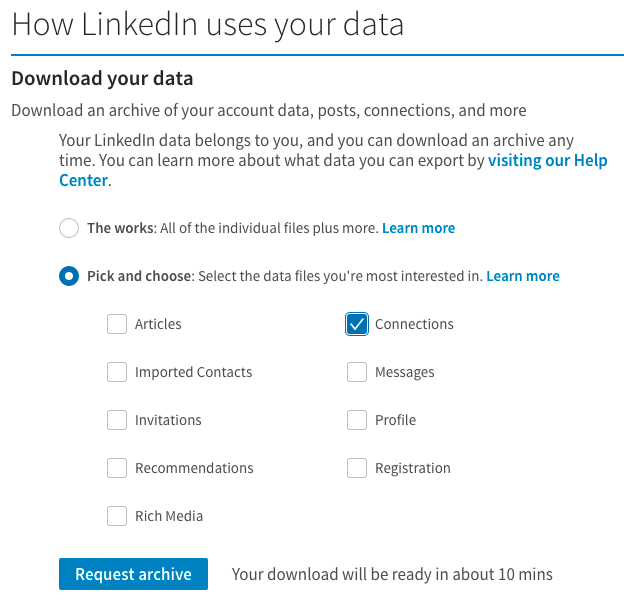 How to export your LinkedIn connections