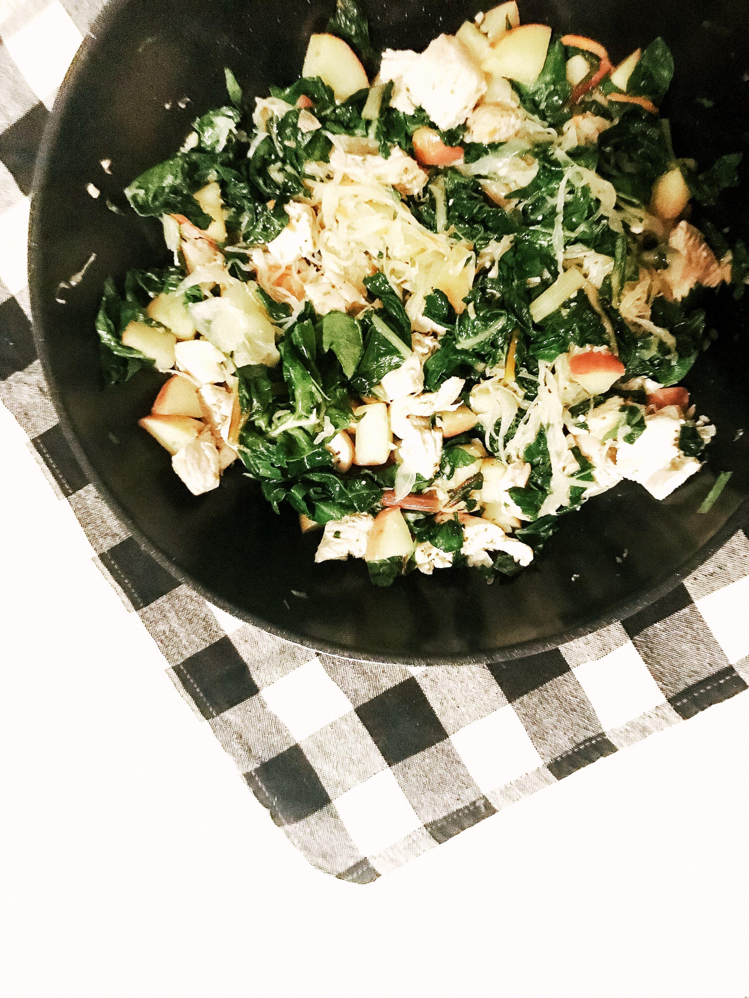 Chicken & Apple, Sauerkraut Skillet (AIP, Paleo, Gluten-Free, Dairy-Free, Breakfast)