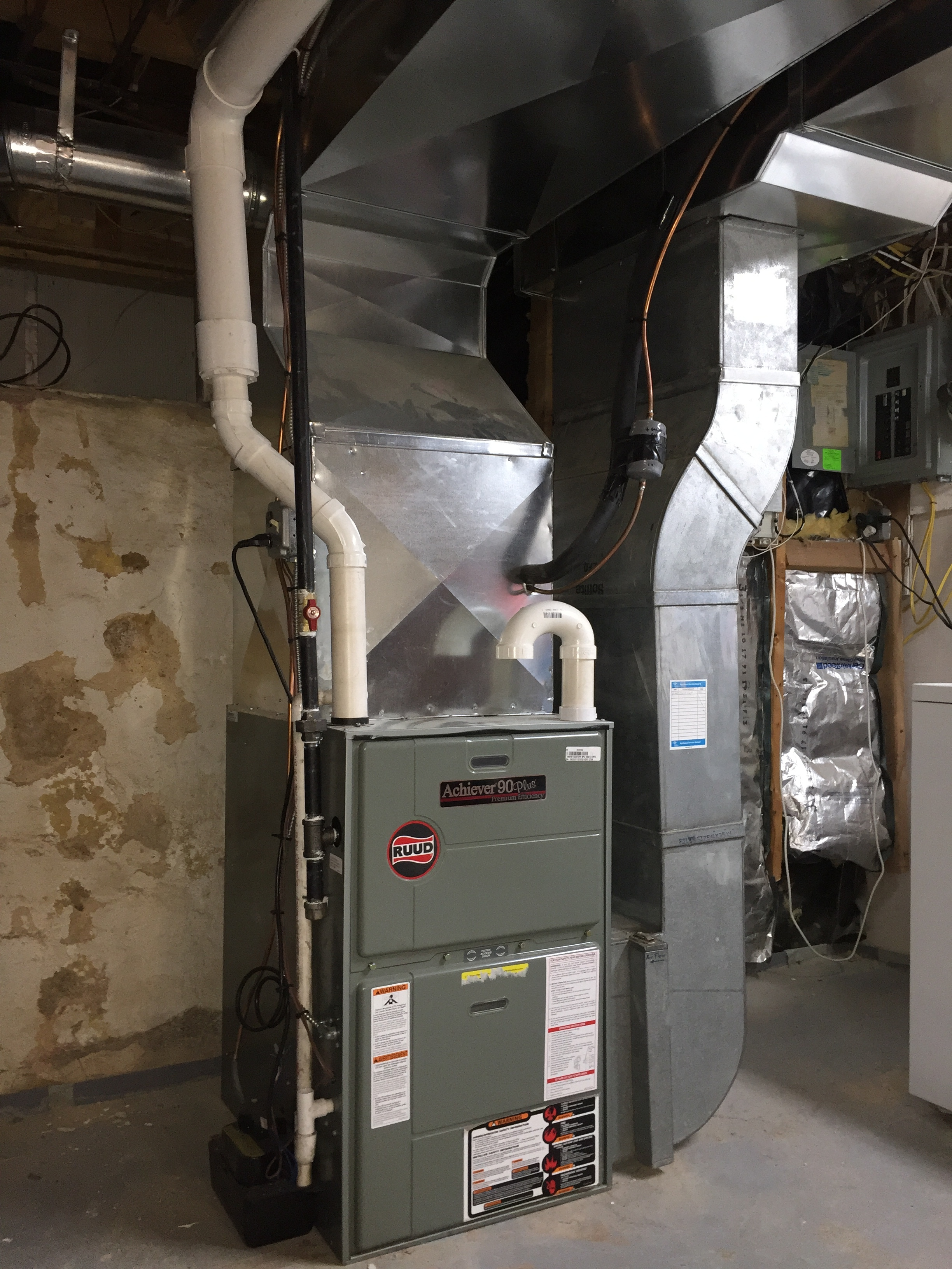 High Efficiency Furnace installation; we were able here to re-do the supply lines for more efficient air flow in the first flow / head room in the basement, then leverage the existing return lines for a cost savings.