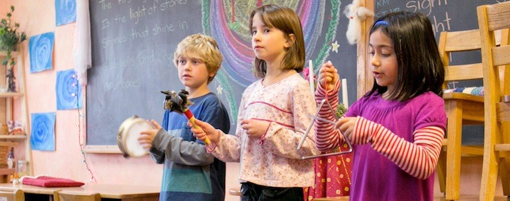 As children reach higher developmental levels rhythmic instruments are introduced.