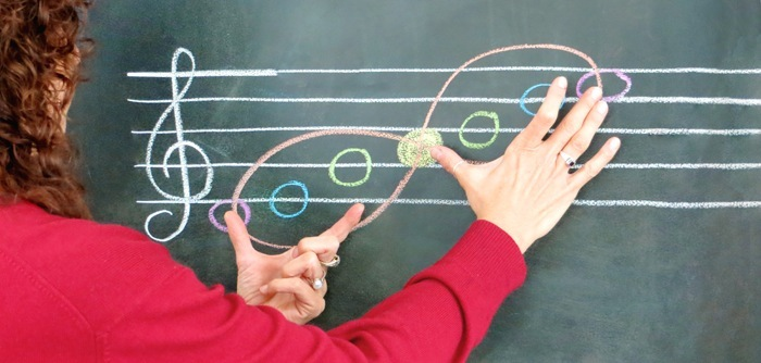 """Music pedagogy begins in the  """" mood of the fifth""""- five note melodies containing open fifths centering around the note A."""