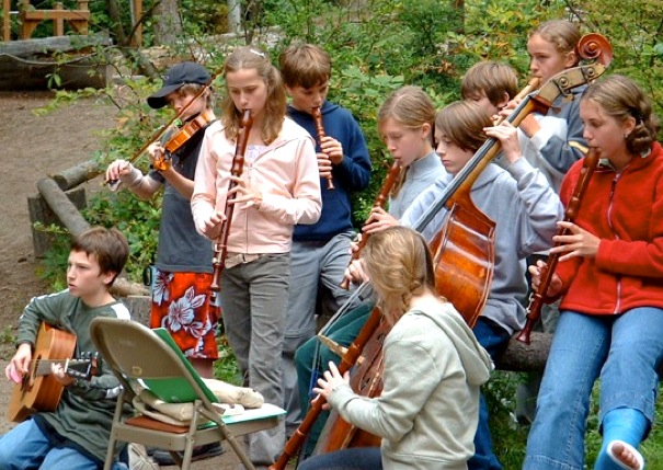 Older children are encouraged to integrate their musical skills with the grade level cultural and historical curriculum they are currently studying.