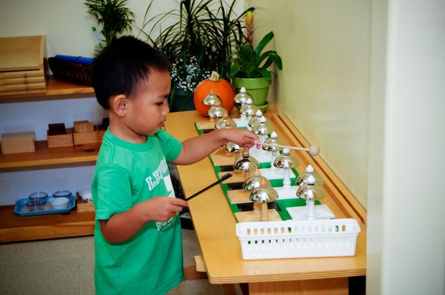 Special instruments, designed by Maria Montessori, such as the Montessori Bells encourage pitch training through auditory discrimination problem solving.