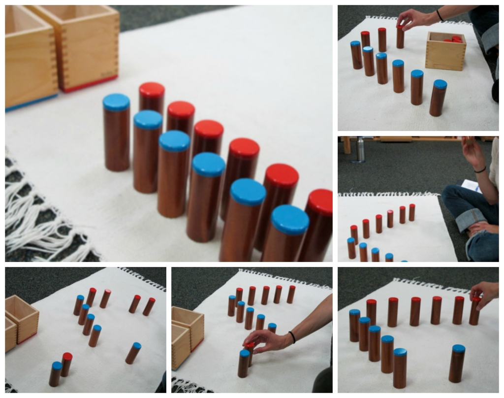 Sets of wooden cylinders with varying dynamics and timbre are sorted by children into sound discrimination categories.