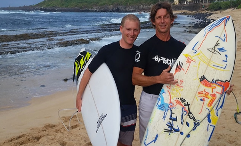 Andrew Talansky and me at Ho'okipa Beach.  Hitting the water is always such a great reward after a ride.