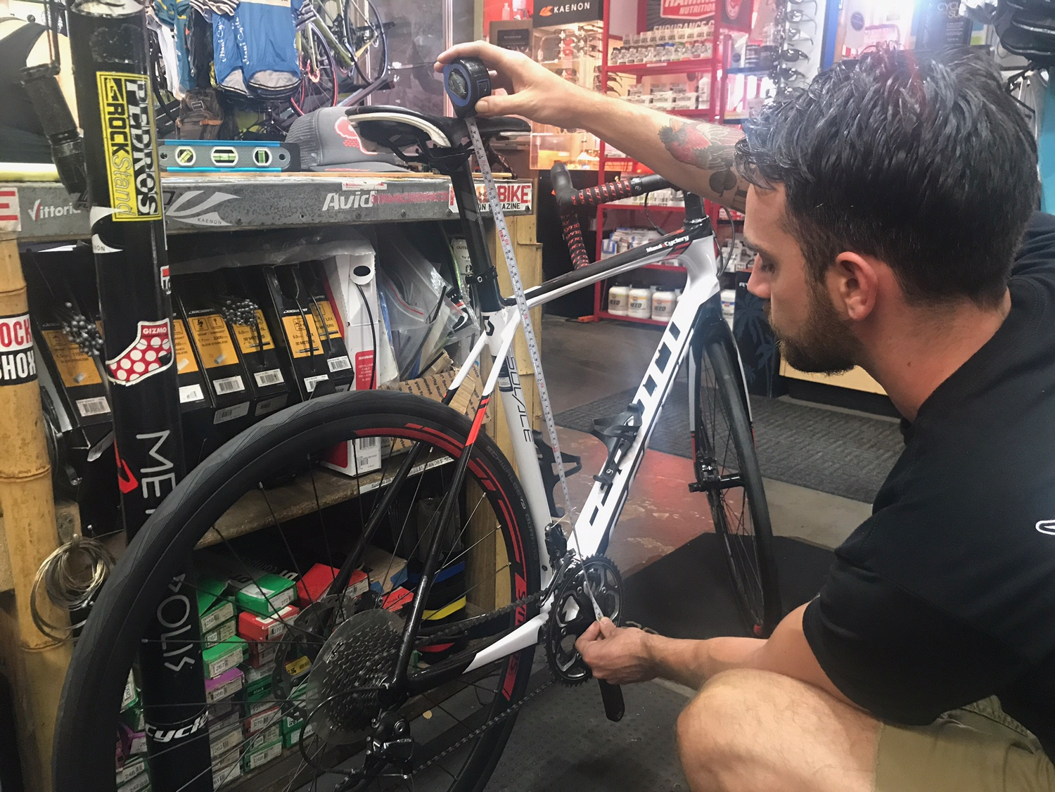 Measure from the center of the bottom bracket to the top of the seat.  These first two measurements will help us set your saddle height and will allow us to account for any difference in crank lengths.