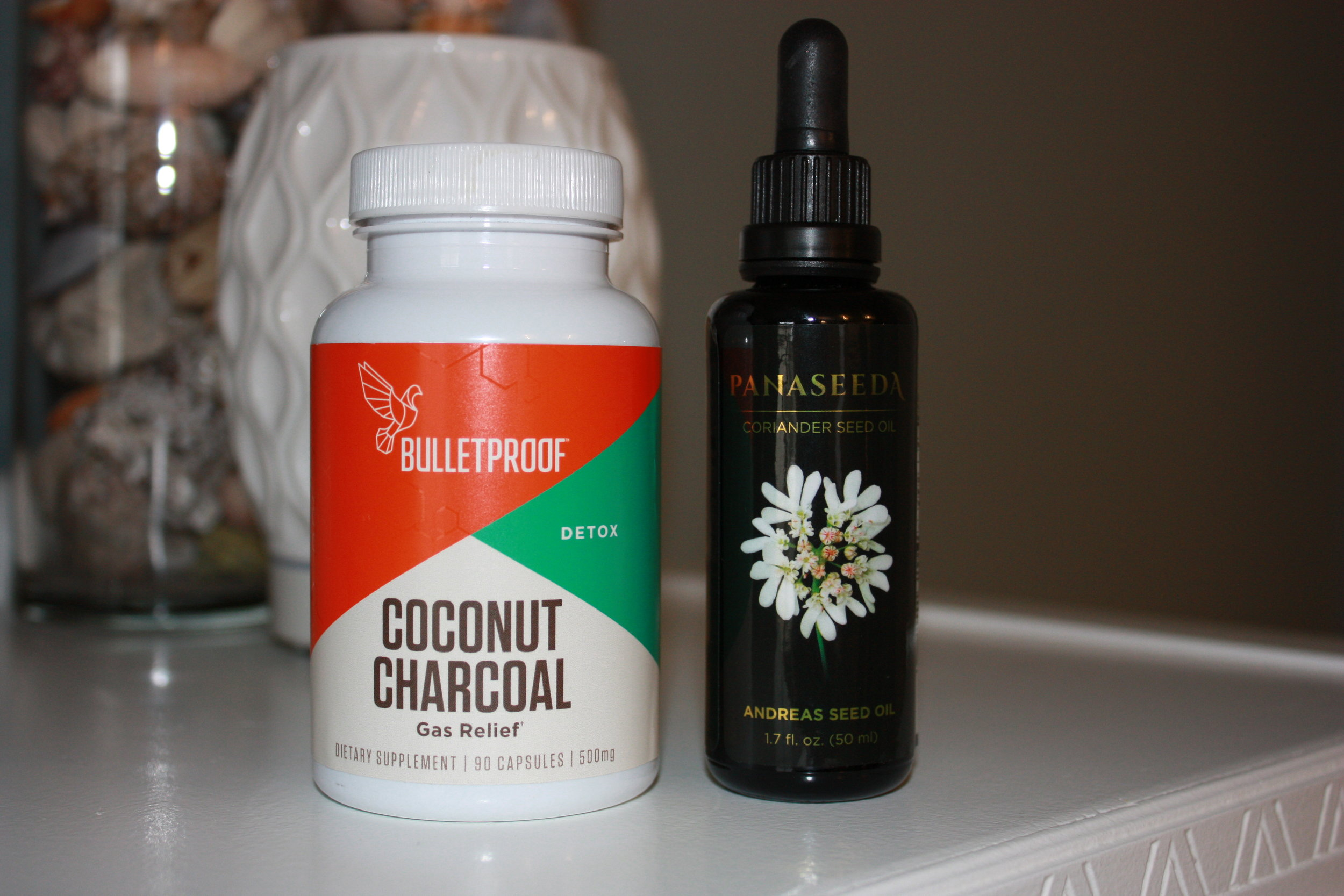 In my Cupboard: Bulletproof Coconut Charcoal .   and   Activation Products Coriander Seed Oil .