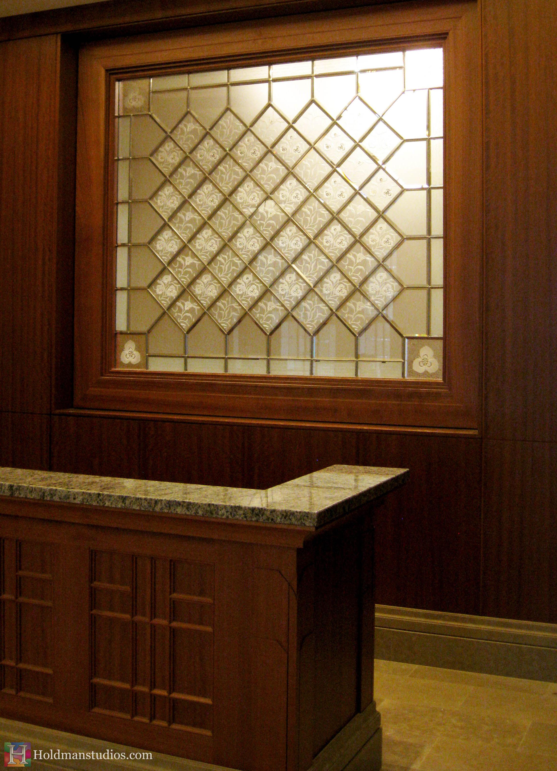 Holdman Studio Stained Glass Art Glass sego lily desk Mormon Draper Temple LDS.jpg