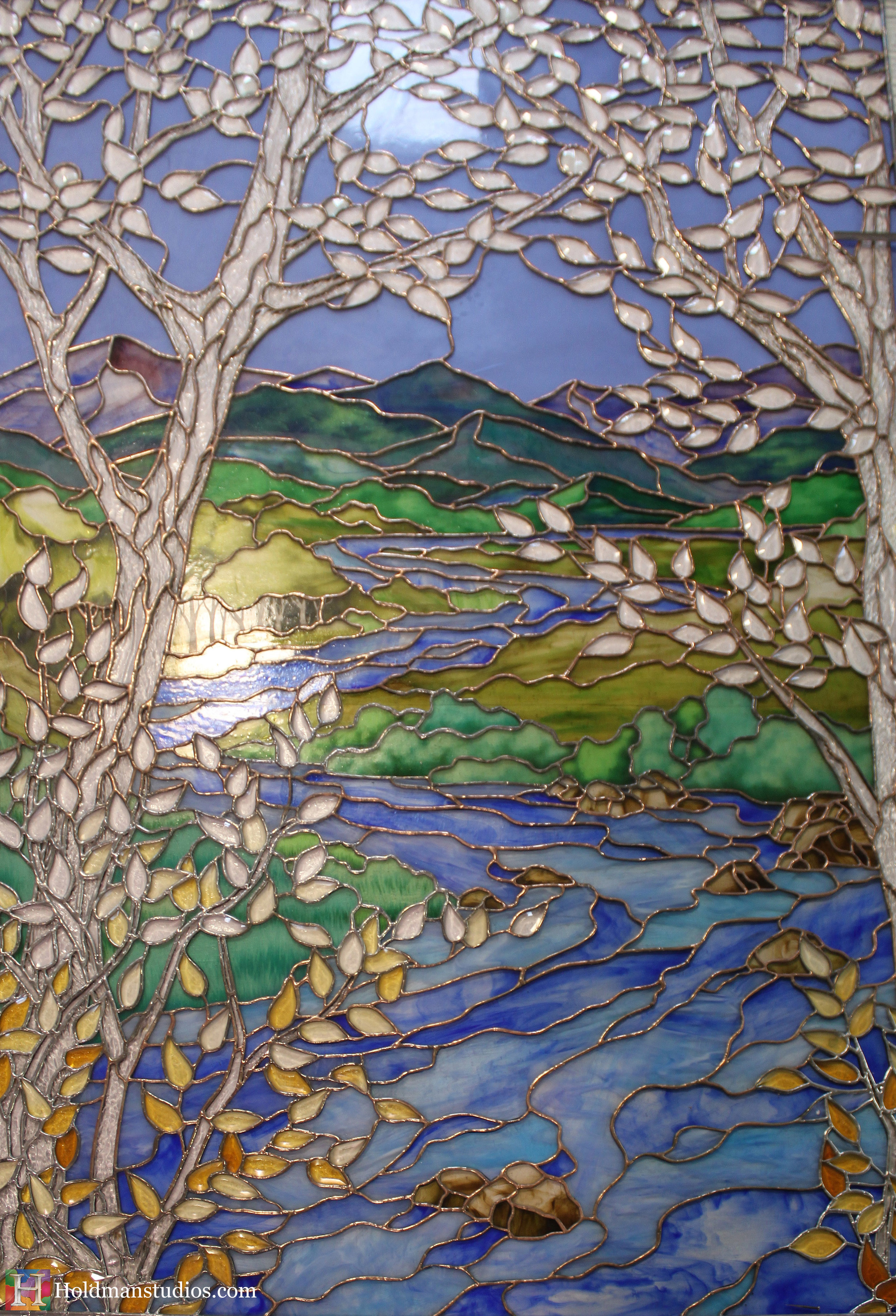 Holdman_Studios_Stained_Art_Glass_LDS_Mormon_Temple_Boise_Idaho_Lobby_Recommend_Desk_River_Stream_Mountain_Trees_Window_Closeup.jpg