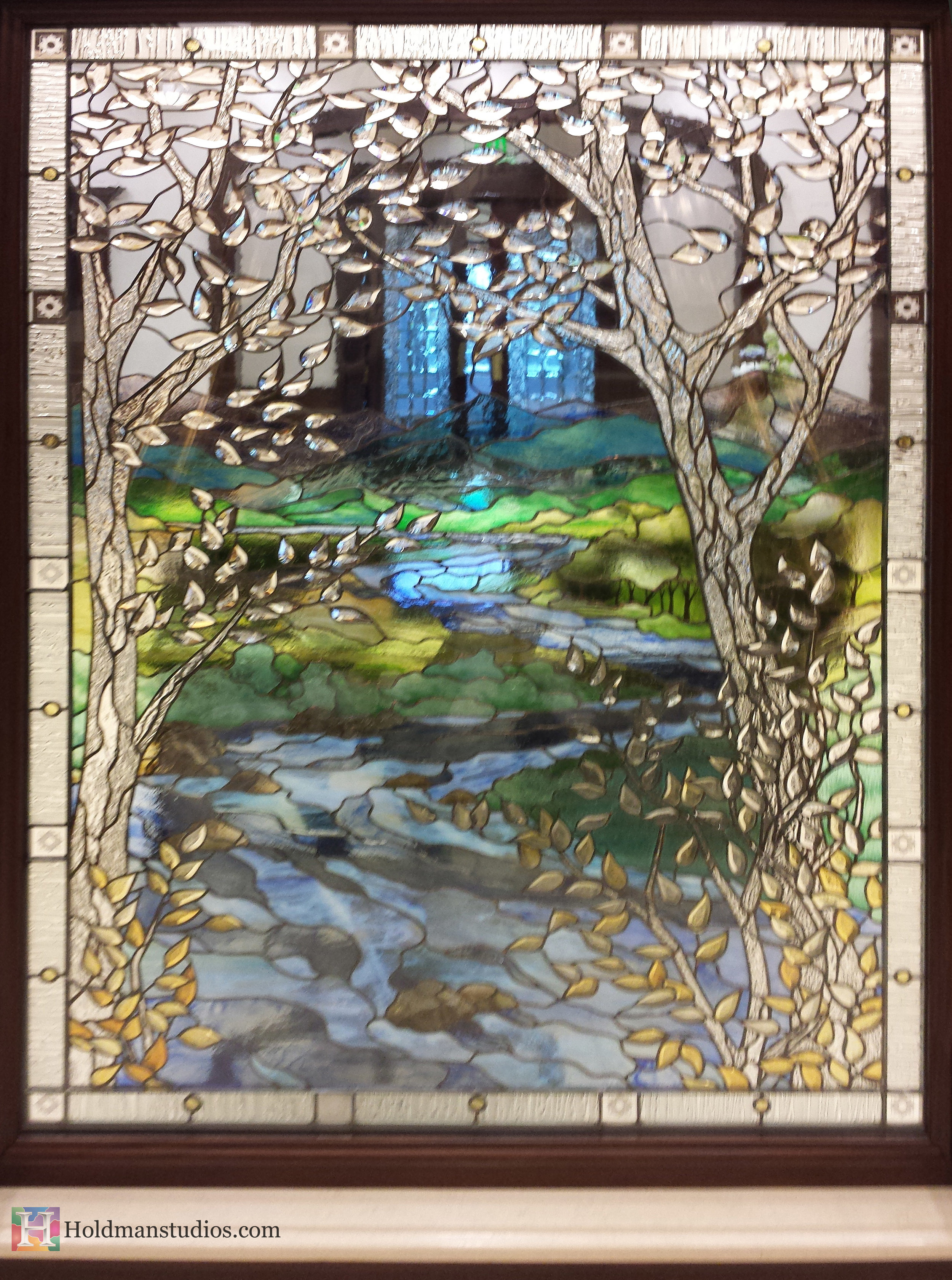Holdman_Studios_Stained_Art_Glass_LDS_Mormon_Temple_Boise_Idaho_Lobby_Recommend_Desk_River_Stream_Mountain_Trees_Window_Reverse_Closeup.jpg