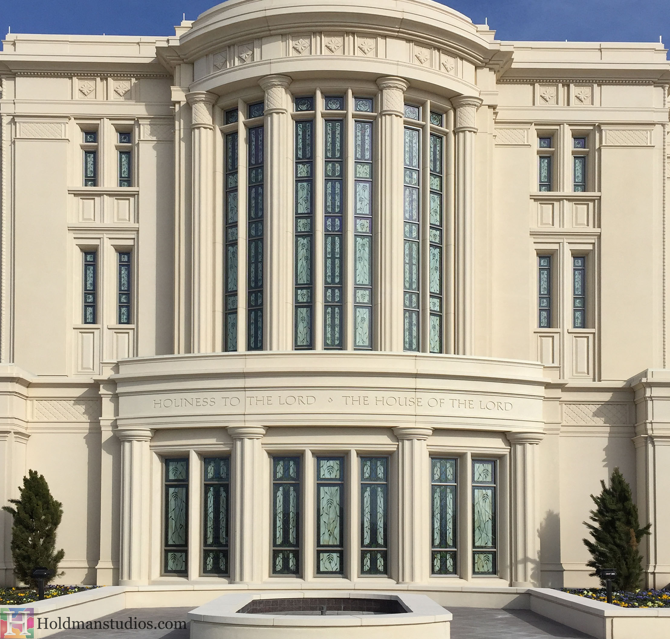 Holdman_Studios_Stained_Art_Glass_Payson_Utah_Temple_Apple_Blossoms_Leaves_DNA_Spiral_Exterior_Windows.jpg