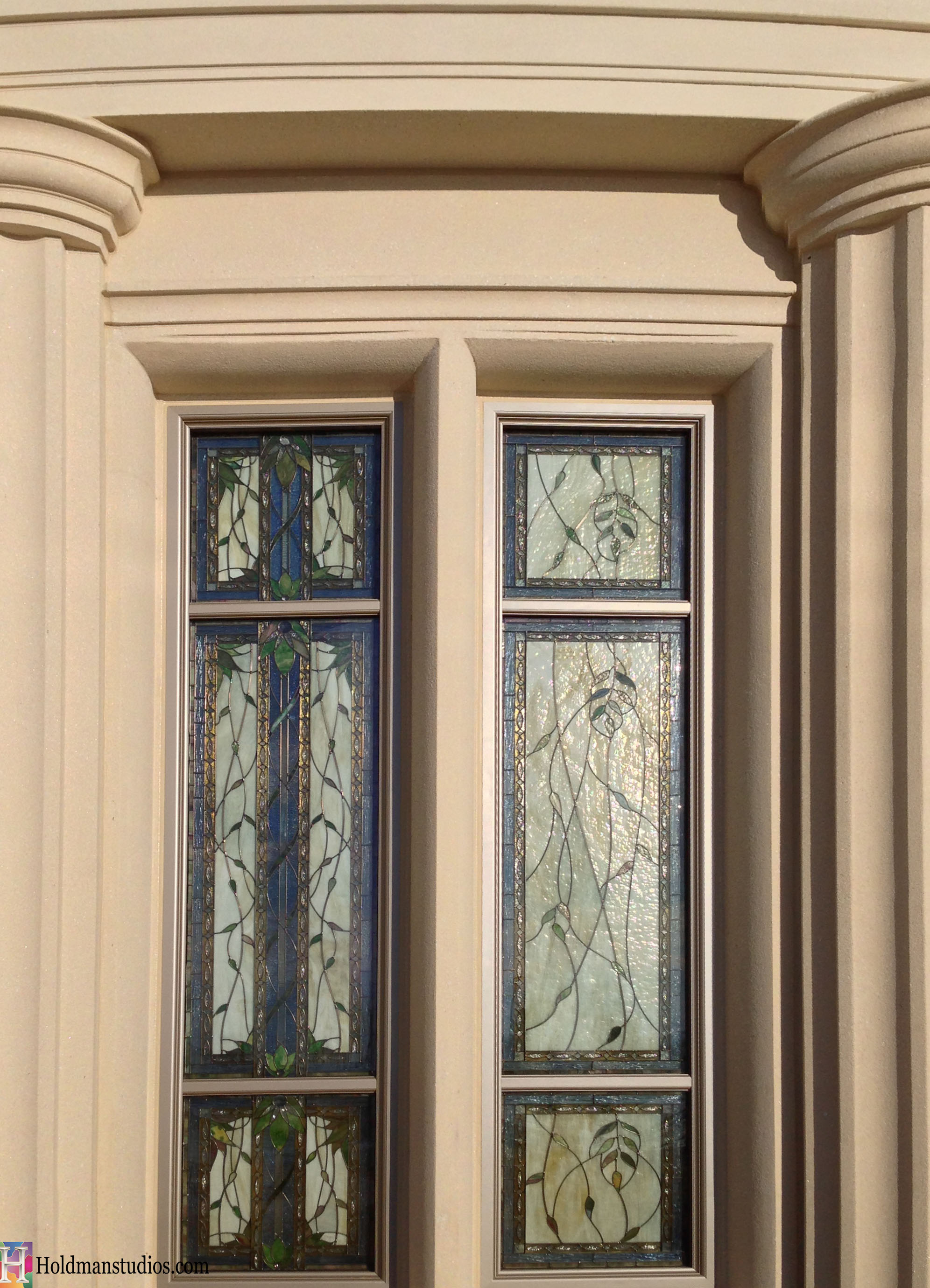 Holdman_Studios_Stained_Art_Glass_Payson_Utah_Temple_Apple_Blossoms_Leaves_DNA_Spiral_Exterior_Windows_Closeup.jpg