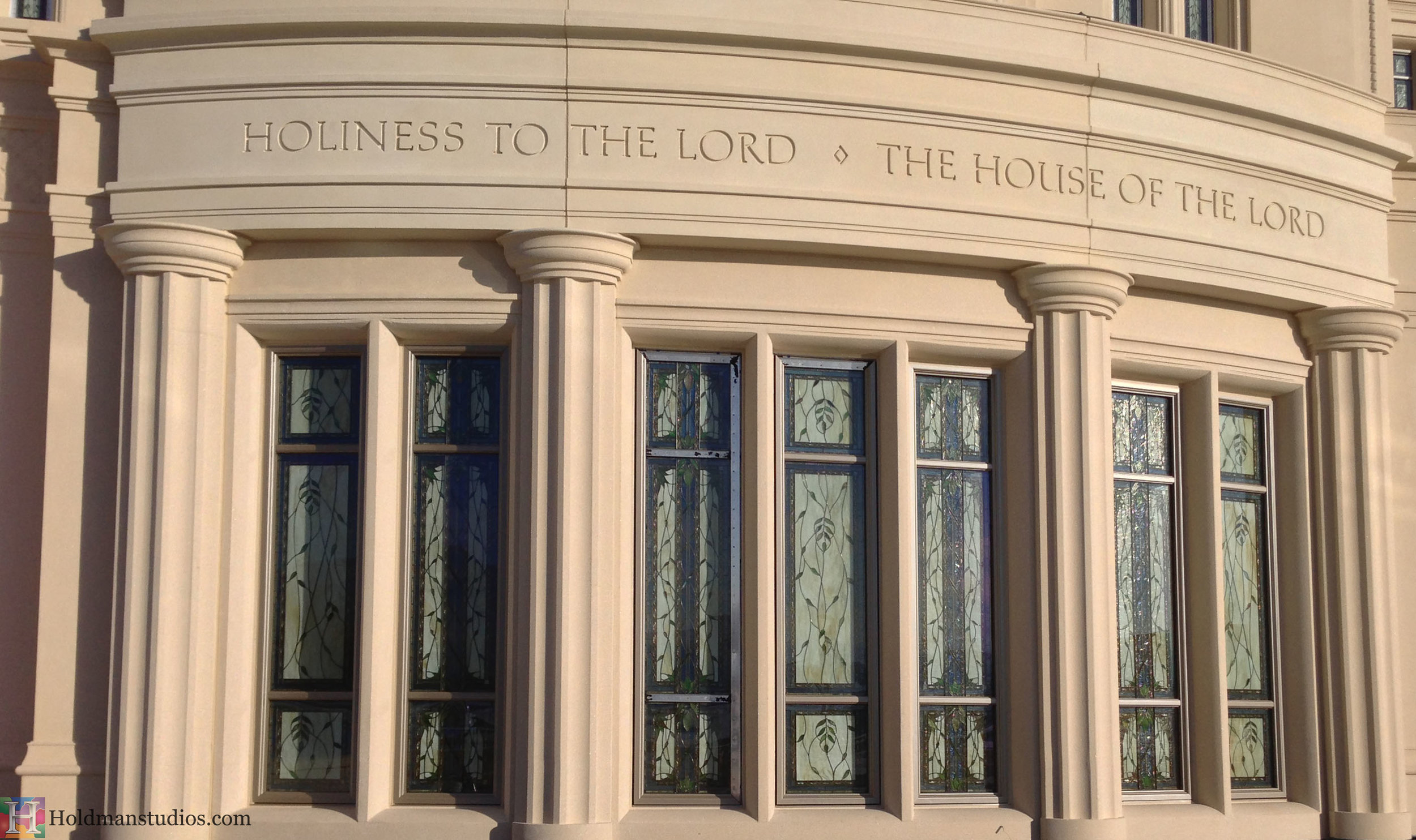 Holdman_Studios_Stained_Art_Glass_Payson_Utah_Temple_Inscription_Apple_Blossoms_Leaves_DNA_Spiral_Exterior_Windows_Closeup.jpg