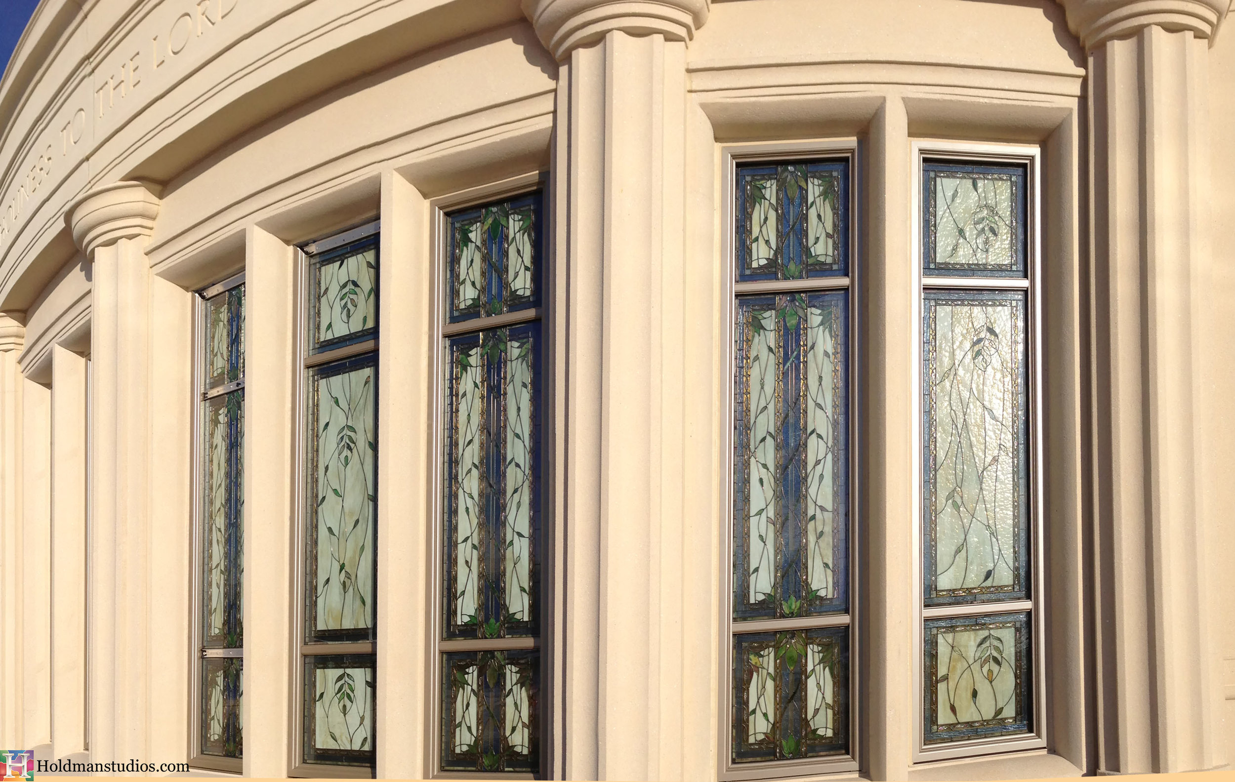 Holdman_Studios_Stained_Art_Glass_Payson_Utah_Temple_Inscription_Apple_Blossoms_Leaves_DNA_Spiral_Exterior_Windows_Closeup2.jpg