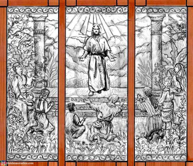 Holdman-Studio-Stained-Art-Glass-Mormon-LDS-Sao-Paulo-Brazil-Temple-Artist-Christ-Comes-to-America-Drawing-Sketch.jpg