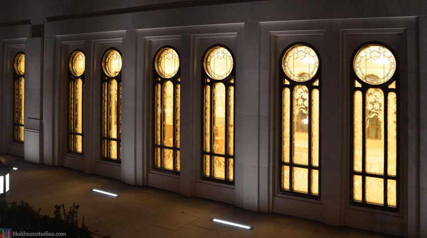 Holdman-Studios-Stained-Etched-Glass-Paris-LDS-Temple-Lily-Flowers-Exterior-Windows-Nightview2.jpg