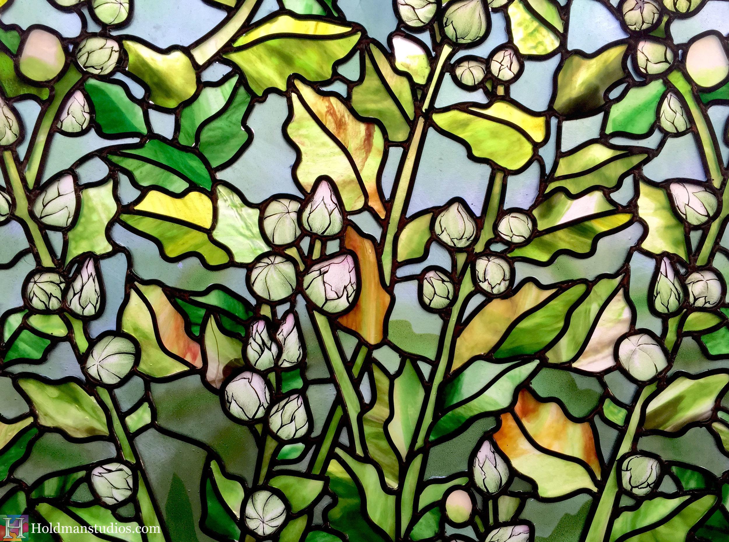 Holdman-Studios-Stained-Glass-Paris-LDS-Temple-Cornflower-Blue-Lily-Flowers-Buds-Leaves-Closeup-Windows.jpg
