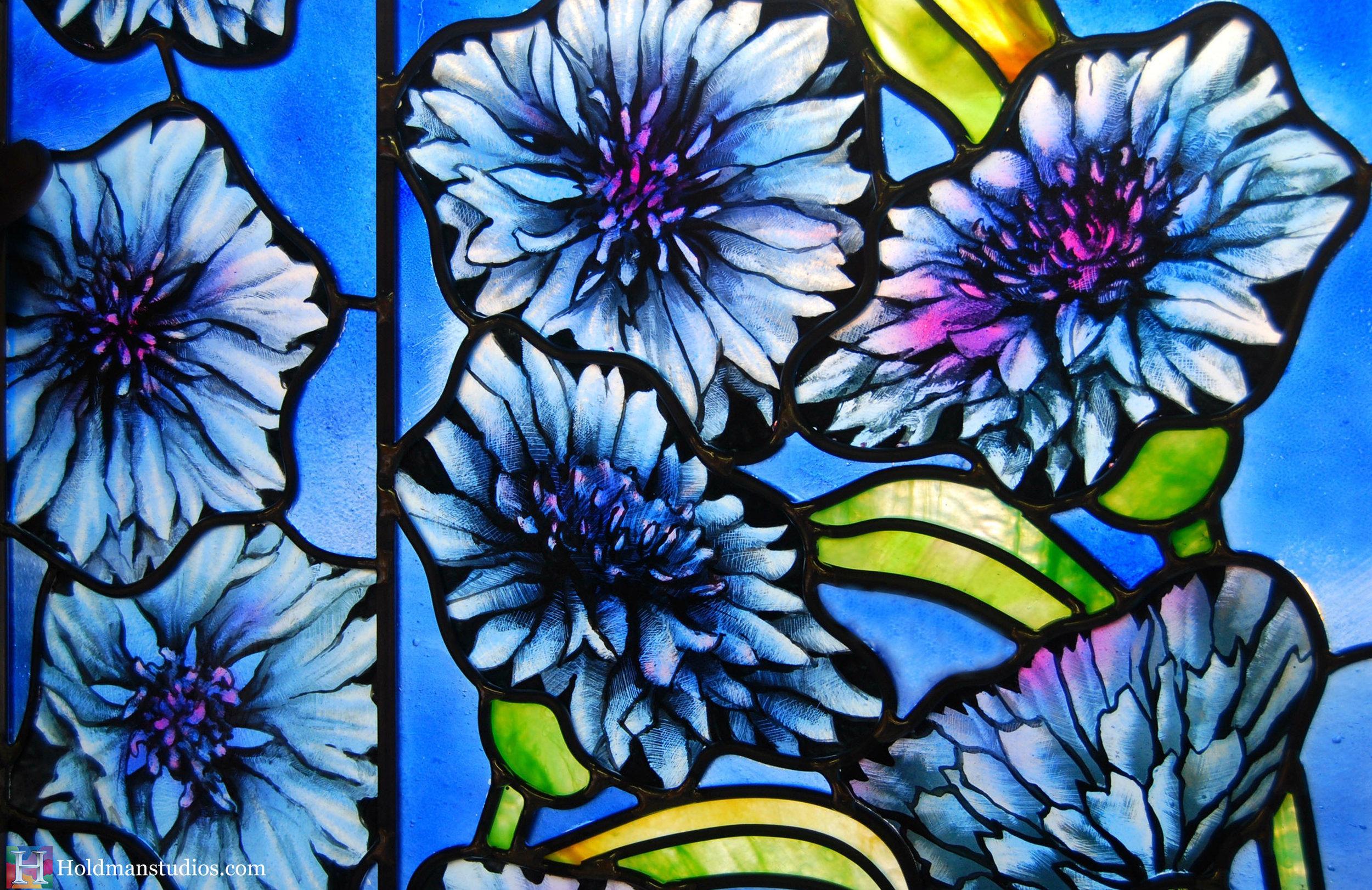 Holdman-Studios-Stained-Glass-Paris-LDS-Temple-Cornflower-Blue-Lily-Flowers-Leaves-Closeup-Windows.jpg