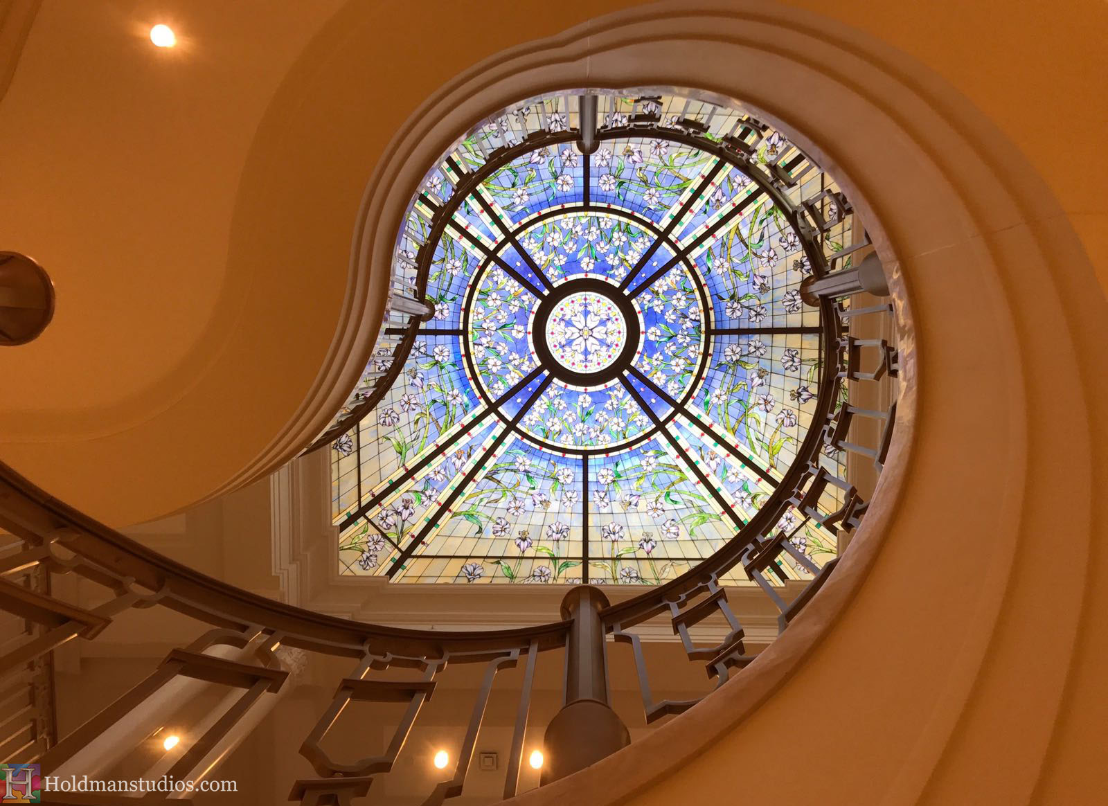 Holdman-Studios-Stained-Glass-Paris-LDS-Temple-Martagon-Lily-Flowers-Leaves-Sun-Moon-Stars-Round-Rose-Grand-Staircase-Skylight-Window.jpg