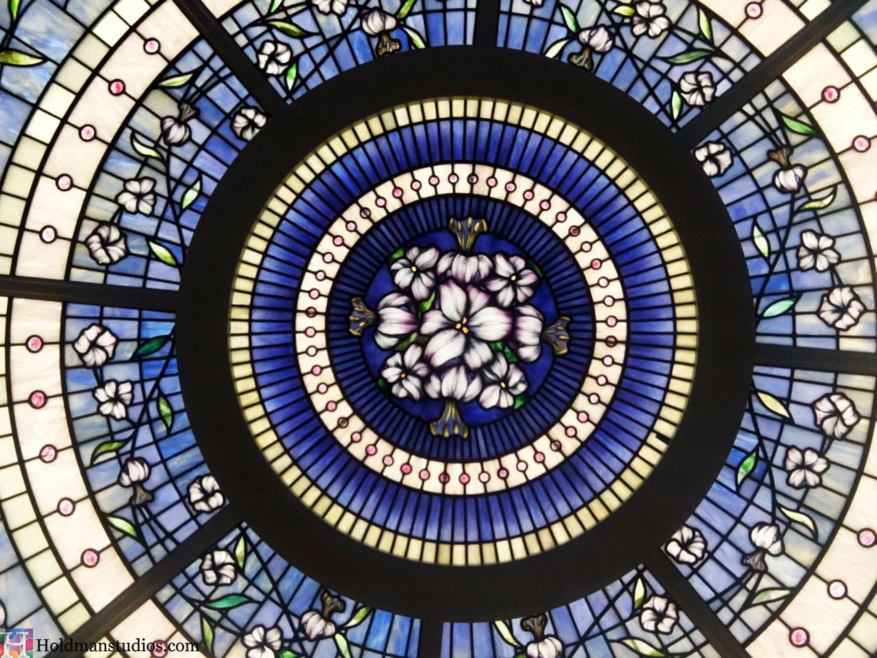 Holdman-Studios-Stained-Glass-Paris-LDS-Temple-Martagon-Lily-Flowers-Leaves-Sun-Moon-Stars-Round-Rose-Skylight-Window.jpg