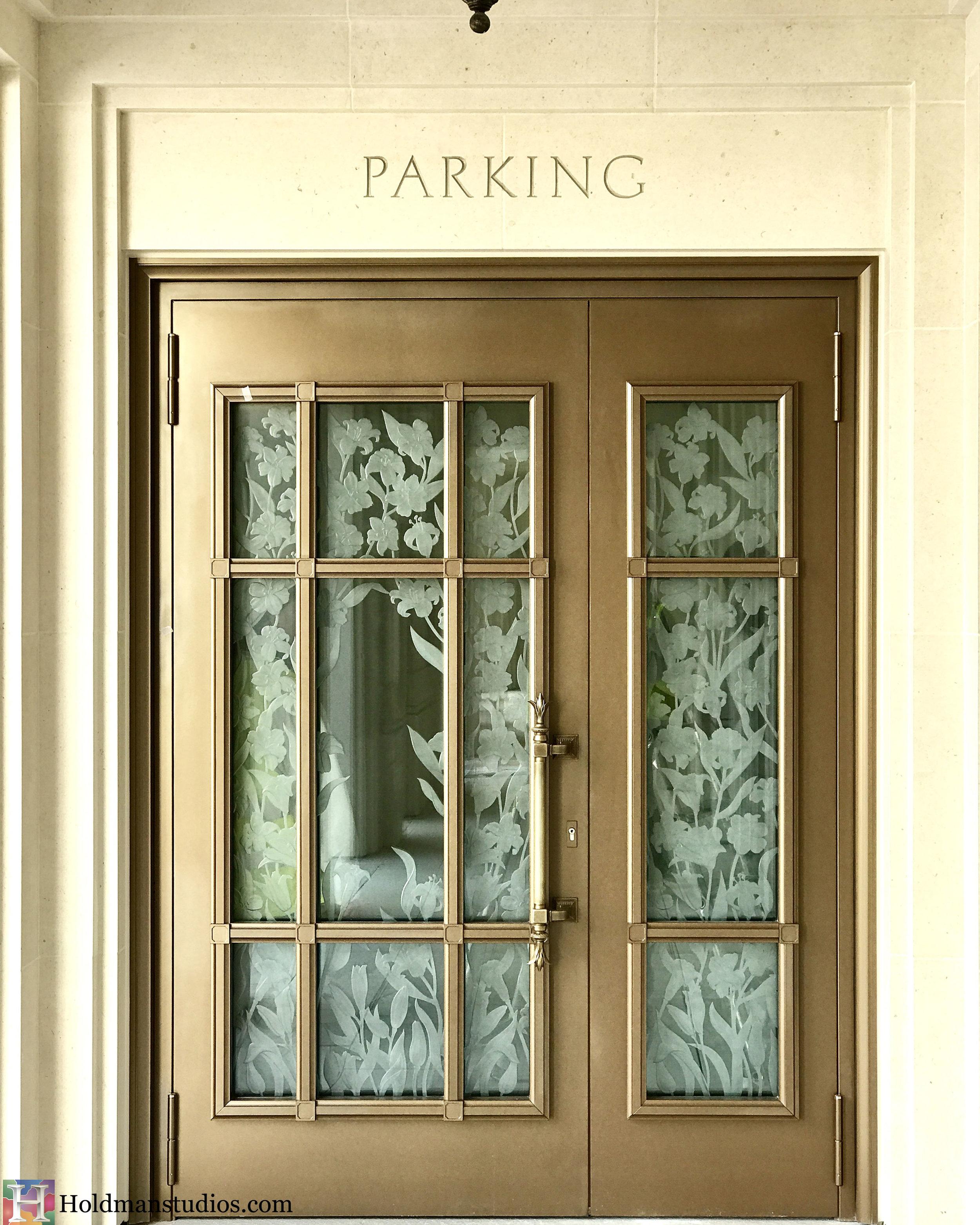 Holdman-Studios-Etched-Glass-Paris-LDS-Temple-Lily-Flowers-Exterior-Parking-Door-Windows.jpg