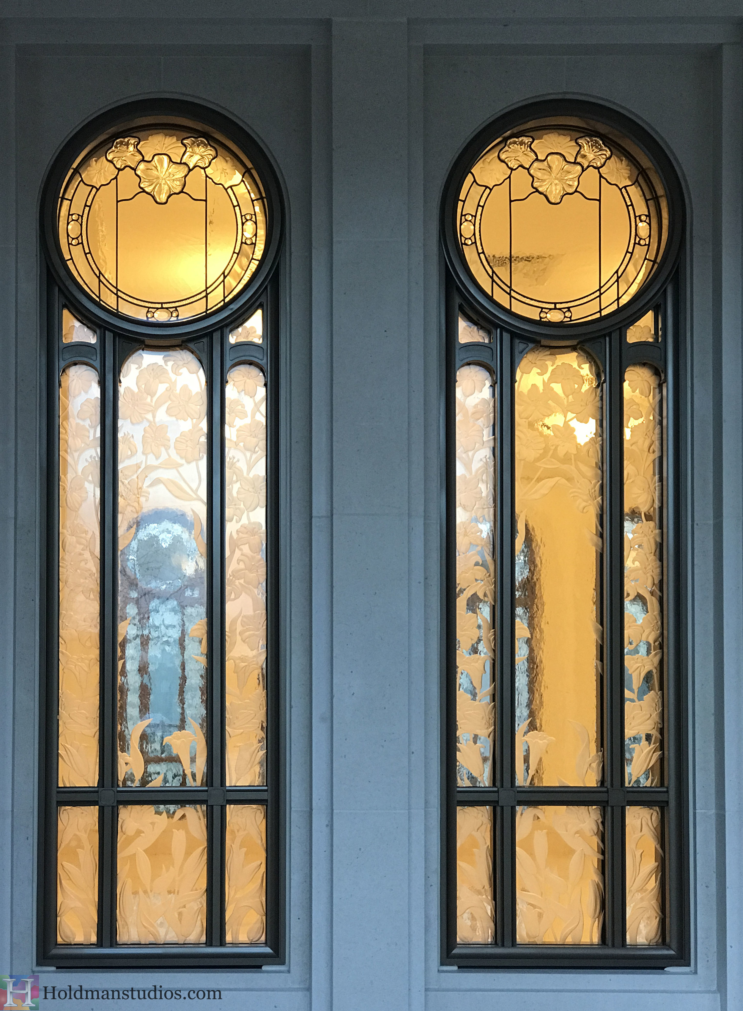 Holdman-Studios-Stained-Etched-Cast-Glass-Paris-LDS-Temple-Martagon-Madonna-Lily-Flowers-Leaves-Window-Outside.jpg