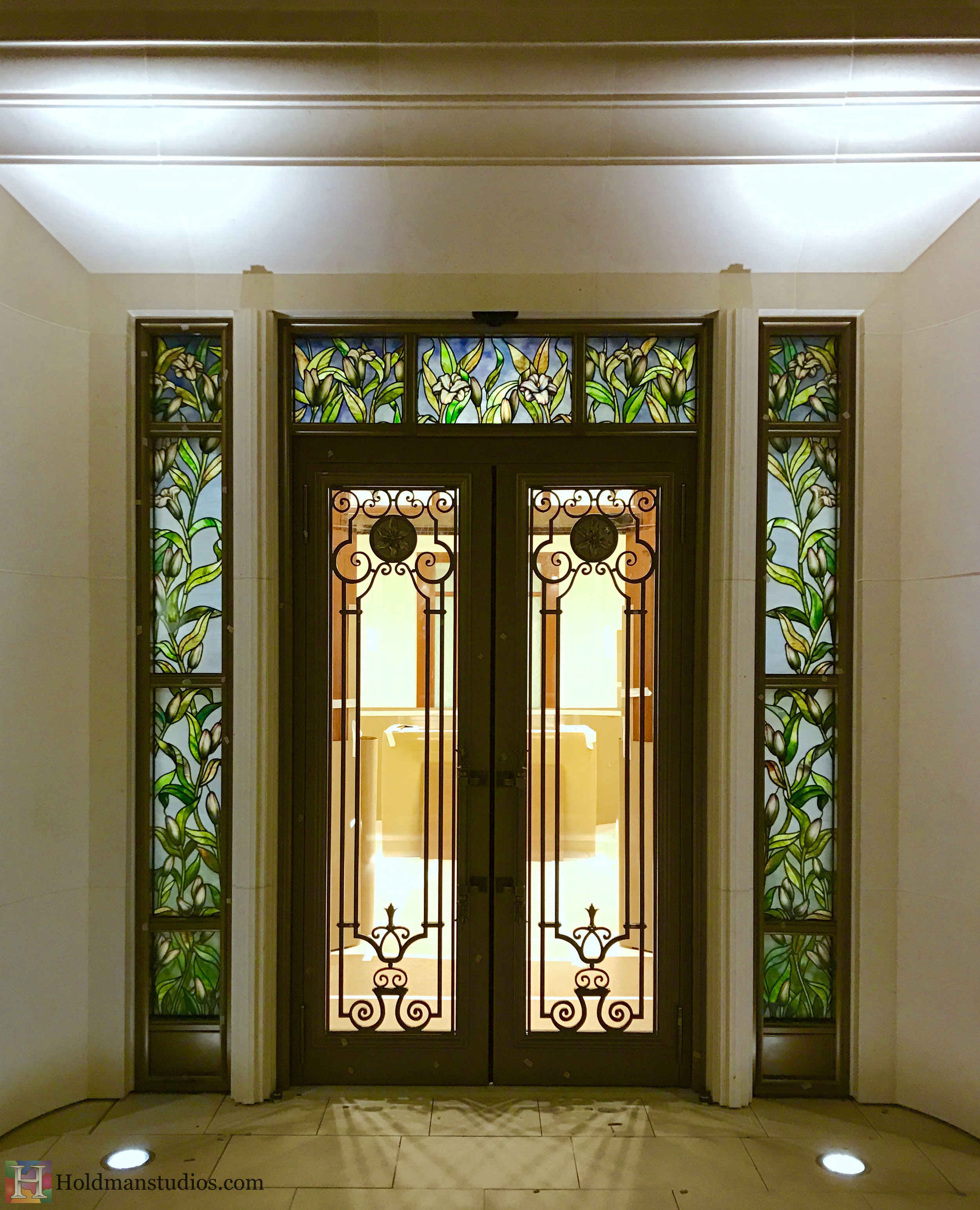 Holdman-Studios-Stained-Etched-Glass-Paris-LDS-Temple-Madonna-Lily-Flowers-Leaves-Outside-Entryway-Windows.jpg