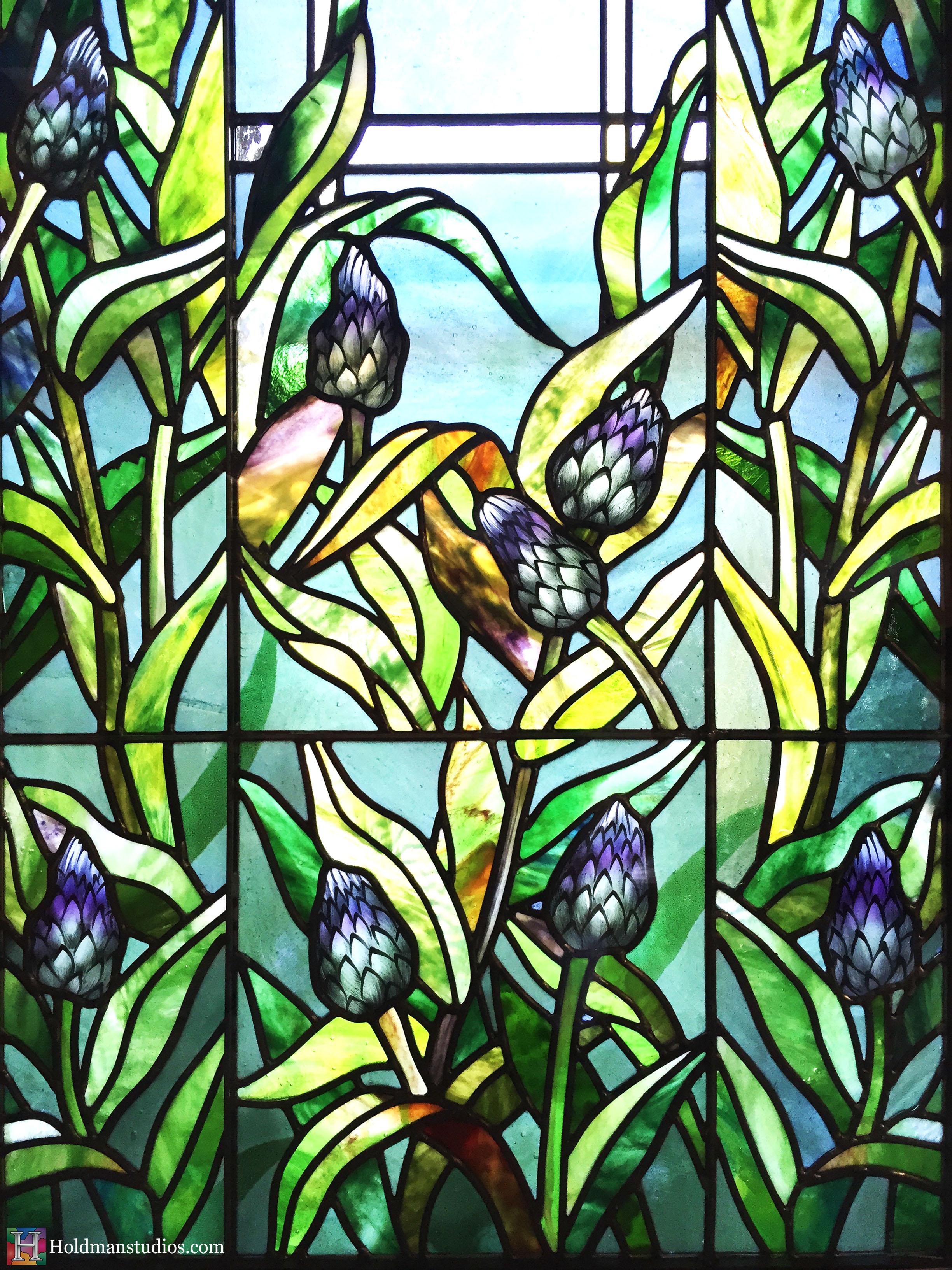 Holdman-Studios-Stained-Glass-Paris-LDS-Temple-Cornflower-Blue-Lily-Flower-Buds-Leaves-Closeup-Window.jpg