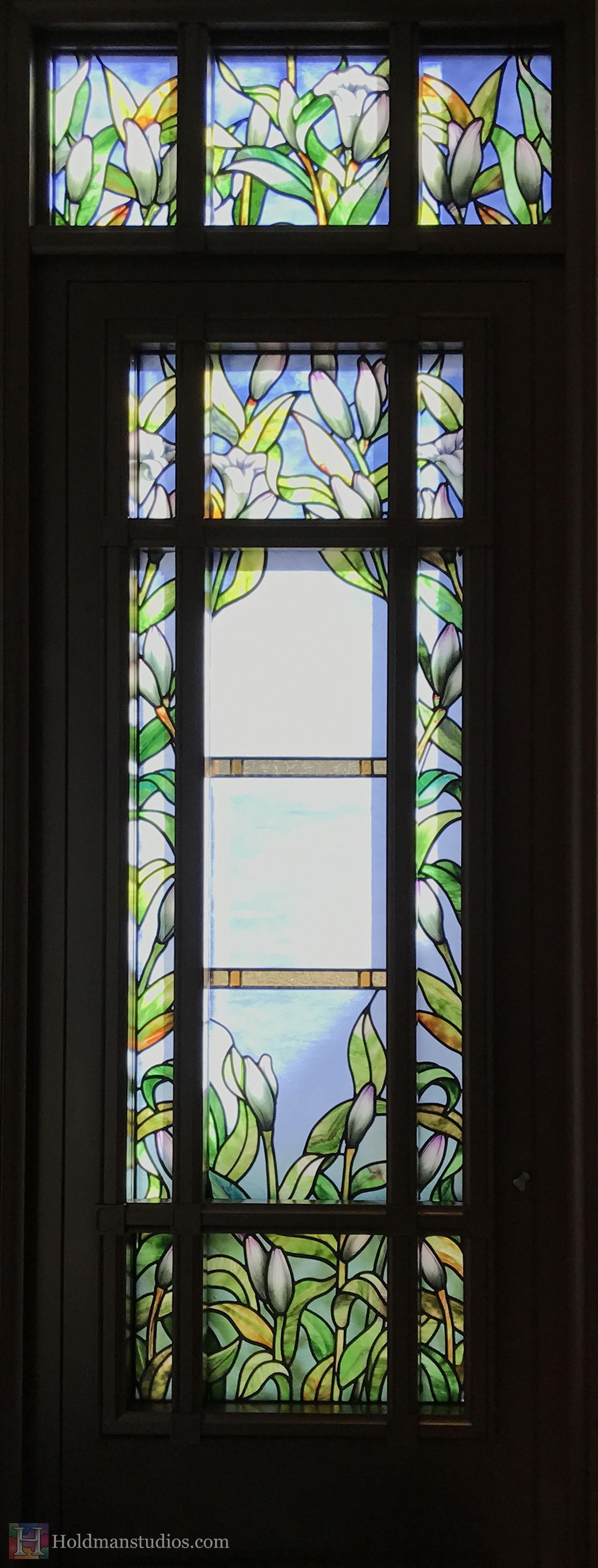 Holdman-Studios-Stained-Glass-Paris-LDS-Temple-Madonna-Lily-Flowers-Leaves-Door-Windows.jpg