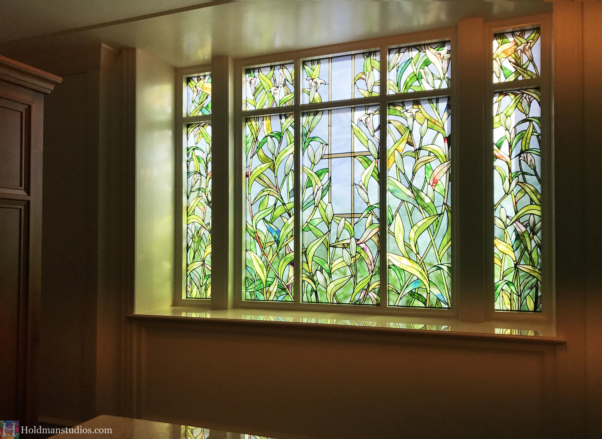 Holdman-Studios-Stained-Glass-Paris-LDS-Temple-Madonna-Lily-Flowers-Leaves-Window-Sideview.jpg