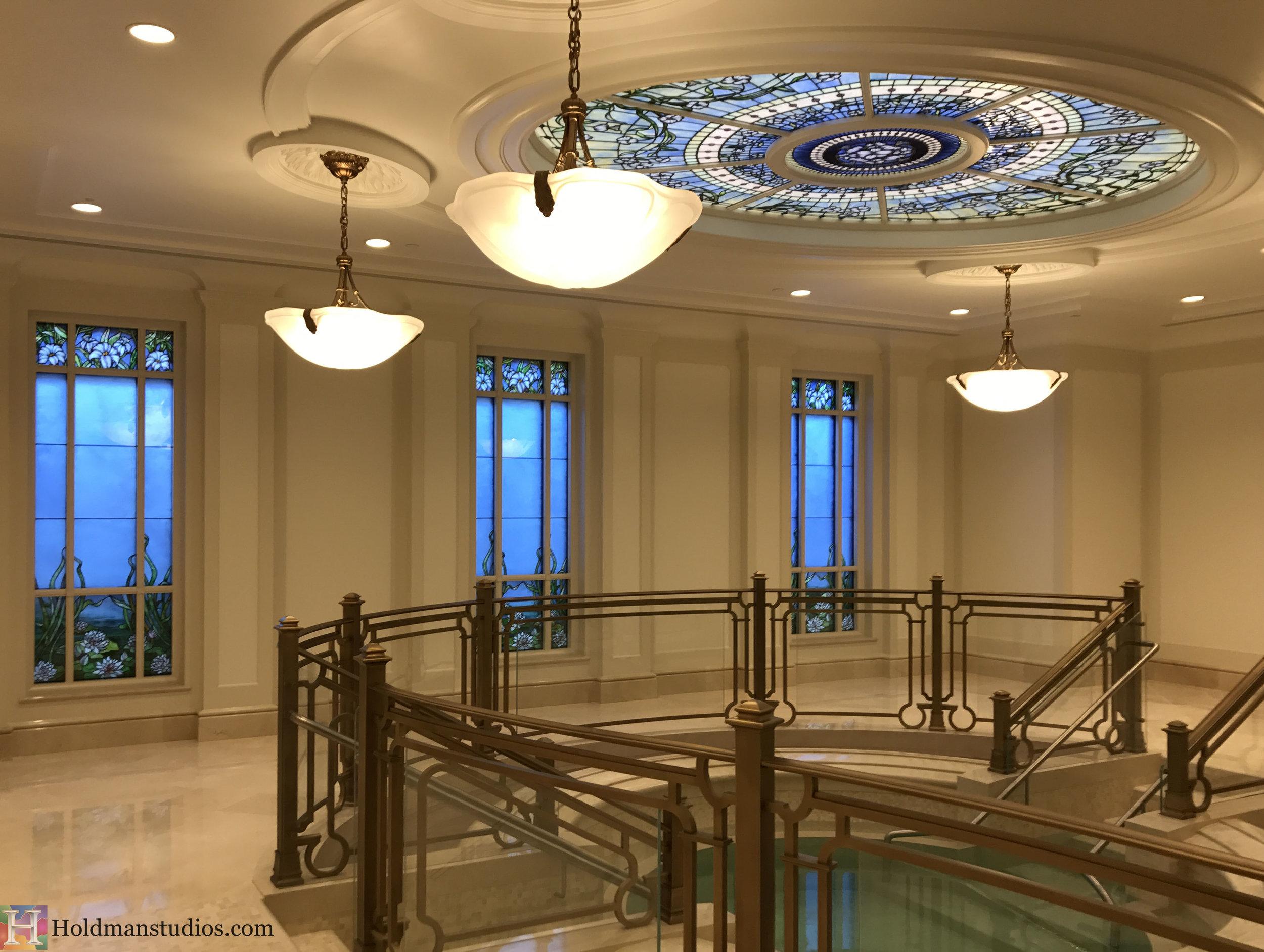 Holdman-Studios-Stained-Glass-Paris-LDS-Temple-Madonna-Martagon-Water-Lily-Pads-Flowers-Leaves-Sun-Moon-Stars-Skylight-Windows.jpg