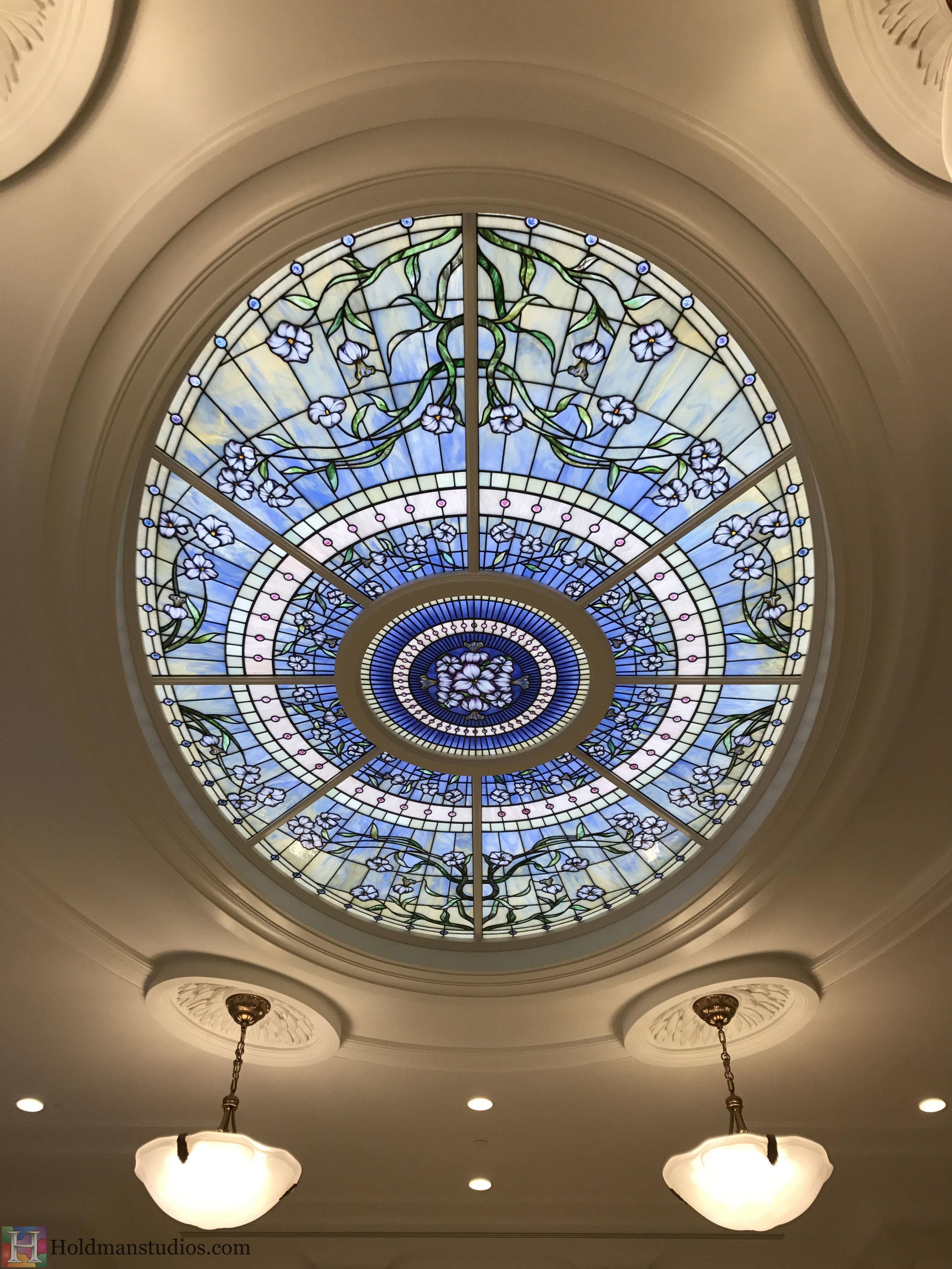 Holdman-Studios-Stained-Glass-Paris-LDS-Temple-Martagon-Flowers-Leaves-Sun-Moon-Stars-Skylight-Window.jpg
