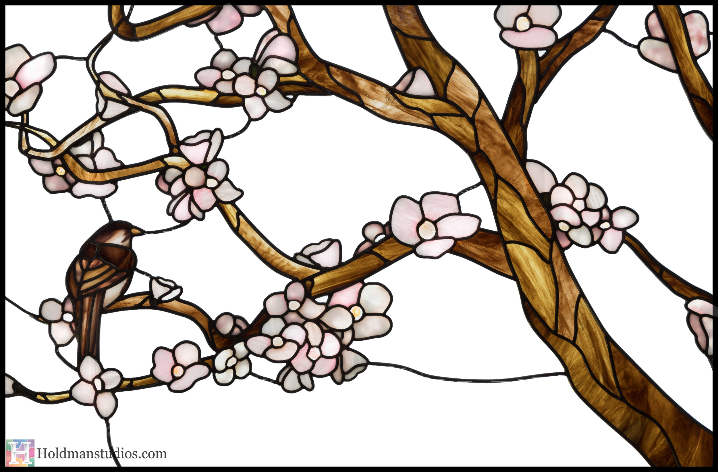 Holdman-Studios-Stained-Glass-Window-Cherry-Tree-Branches-Blossom-Flowers-Brown-Bird-Sparrow.jpg