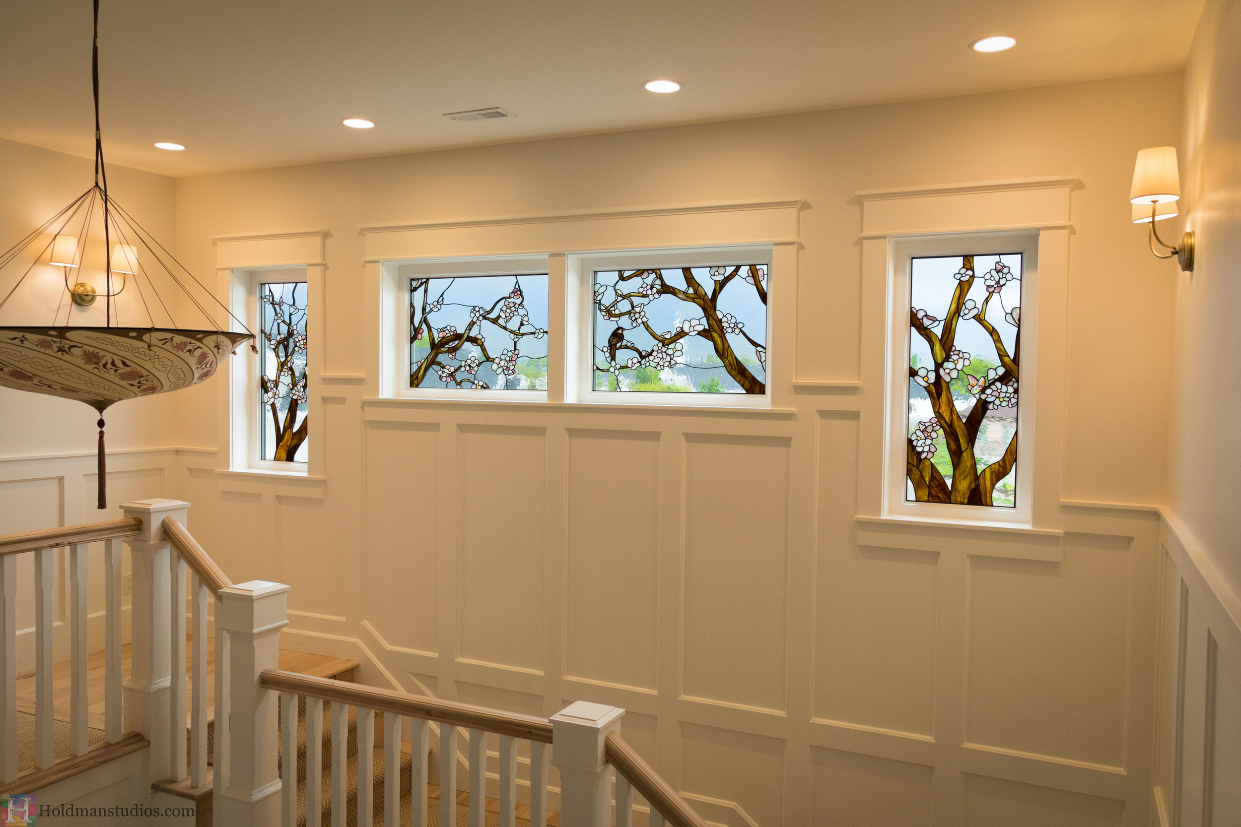 Holdman-Studios-Stained-Glass-Windows-Cherry-Tree-Branches-Blossom-Flowers-Butterflies-Brown-Bird-Sparrow.jpg