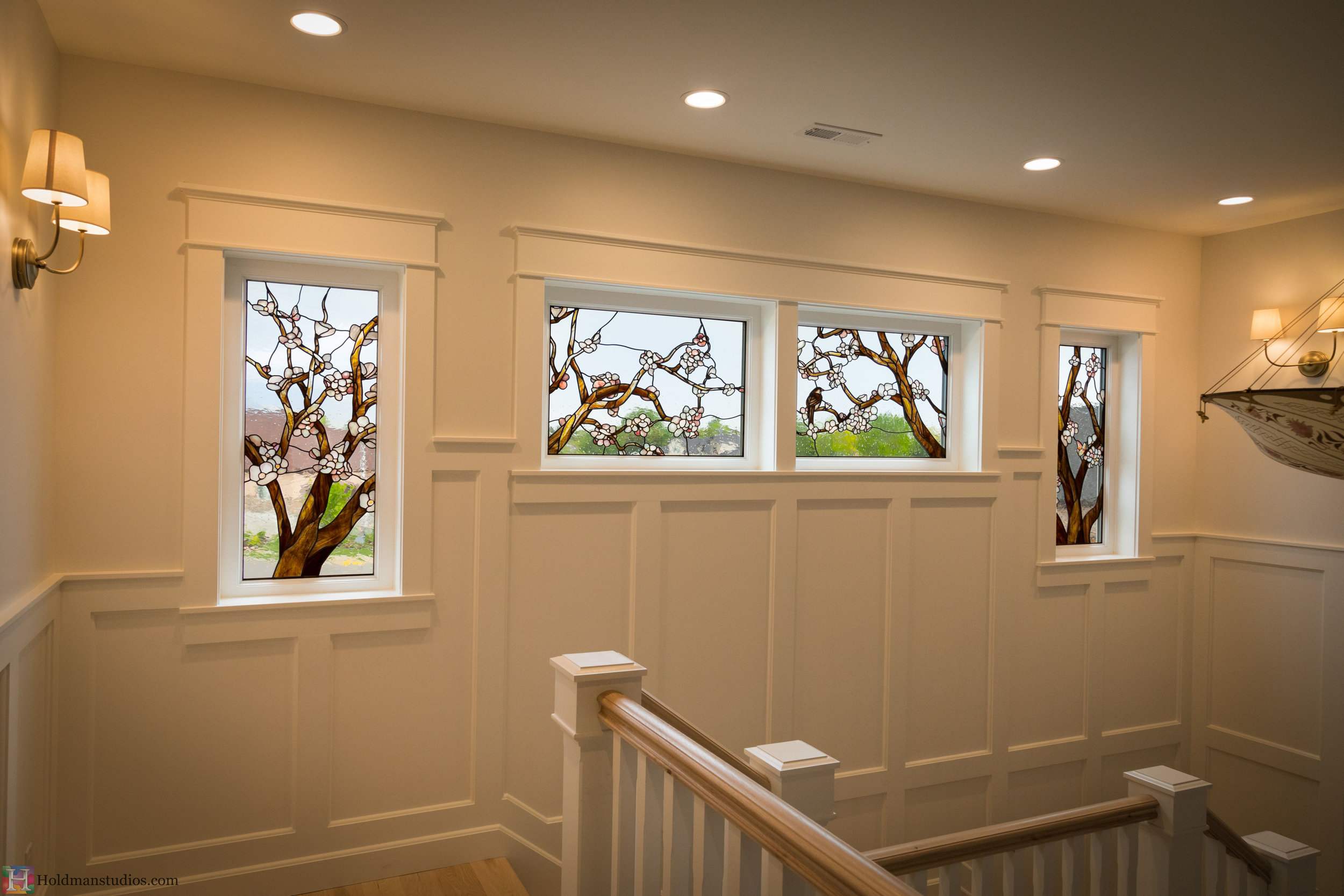 Holdman-Studios-Stained-Glass-Windows-Cherry-Tree-Branches-Blossom-Flowers-Butterfly-Brown-Bird-Sparrow.jpg