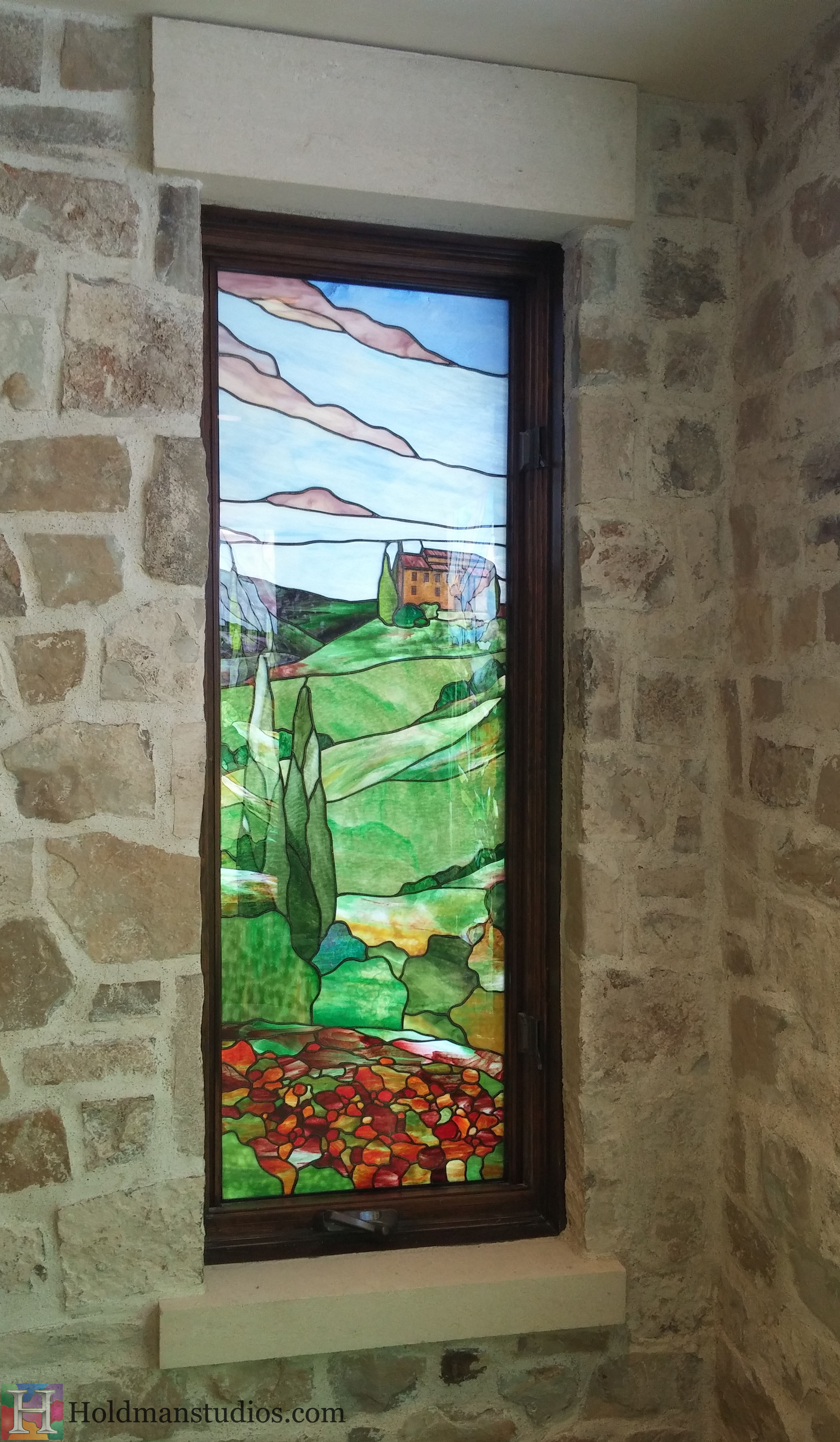 Holdman-Studios-Stained-Glass-Window-Landscape-Trees-Flowers-House-Hill-Sky.jpg