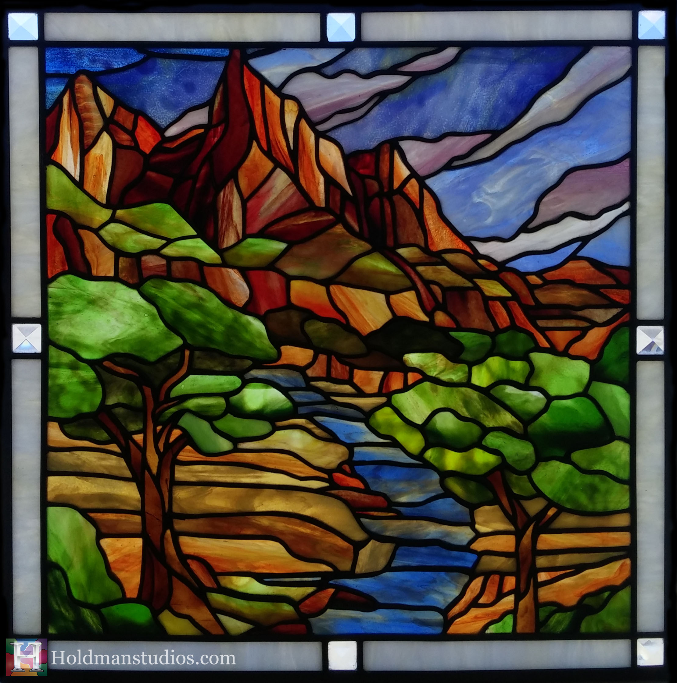 Holdman-Studios-Stained-Glass-Window-Southern-Utah-Mountians-Trees-Sky-Clounds-River.jpg