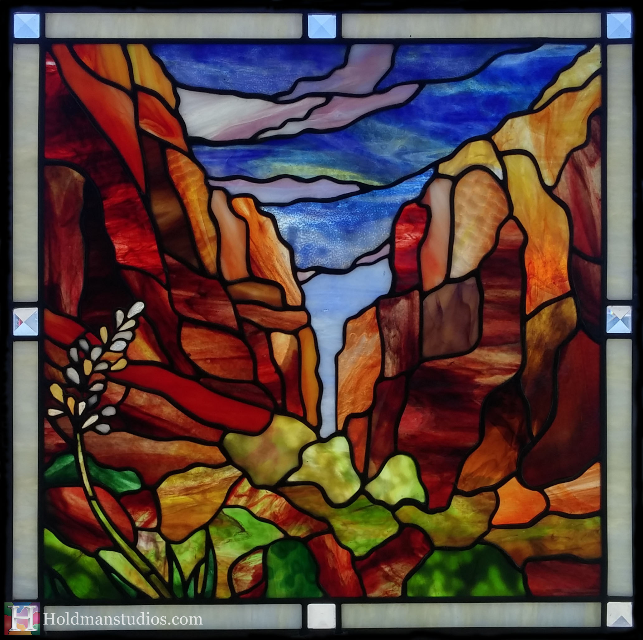 Holdman-Studios-Stained-Glass-Window-Southern-Utah-Mountians-Trees-Sky-Clounds-Agave-Plant-Flower.jpg