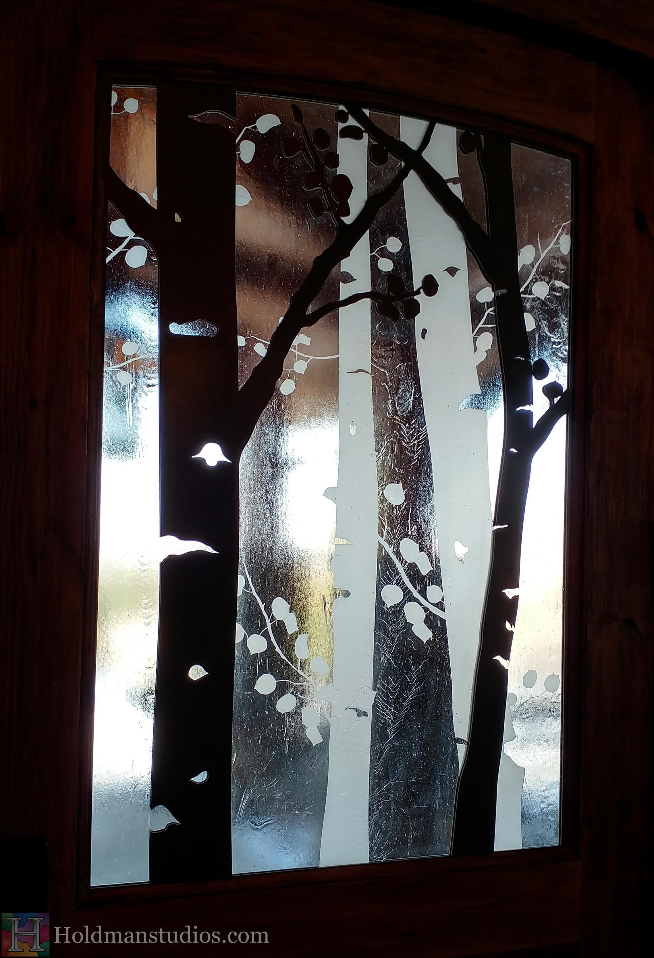 Holdman-studios-etched-art-glass-front-door-window-aspen-trees-leaves-closeup.jpg