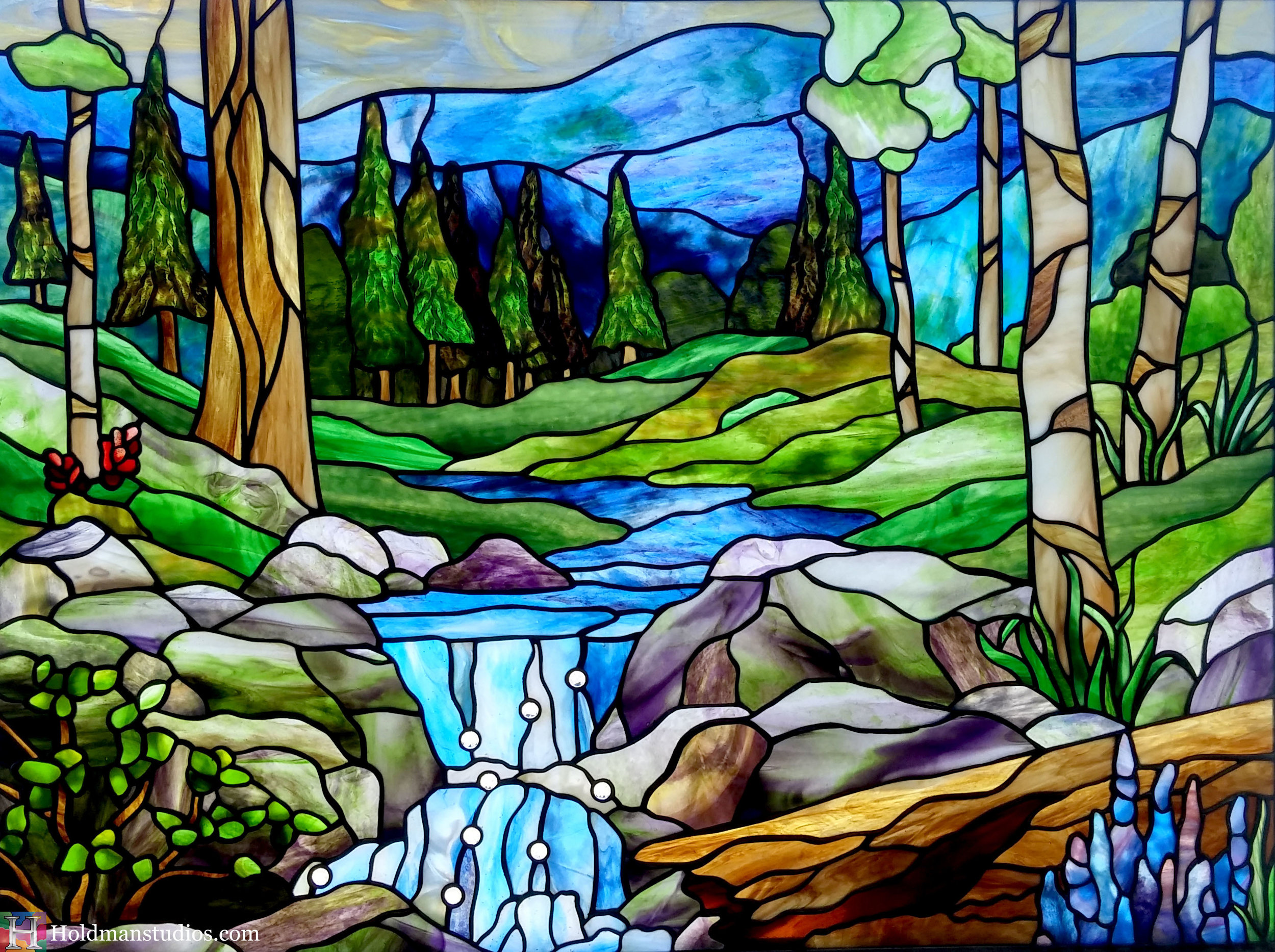 Holdman-Studios-Stained-Glass-Sky-Clouds-Aspen-Pine-Trees-Log-Flowers-Leaves-Plants-River-Mountains-Rocks.jpg